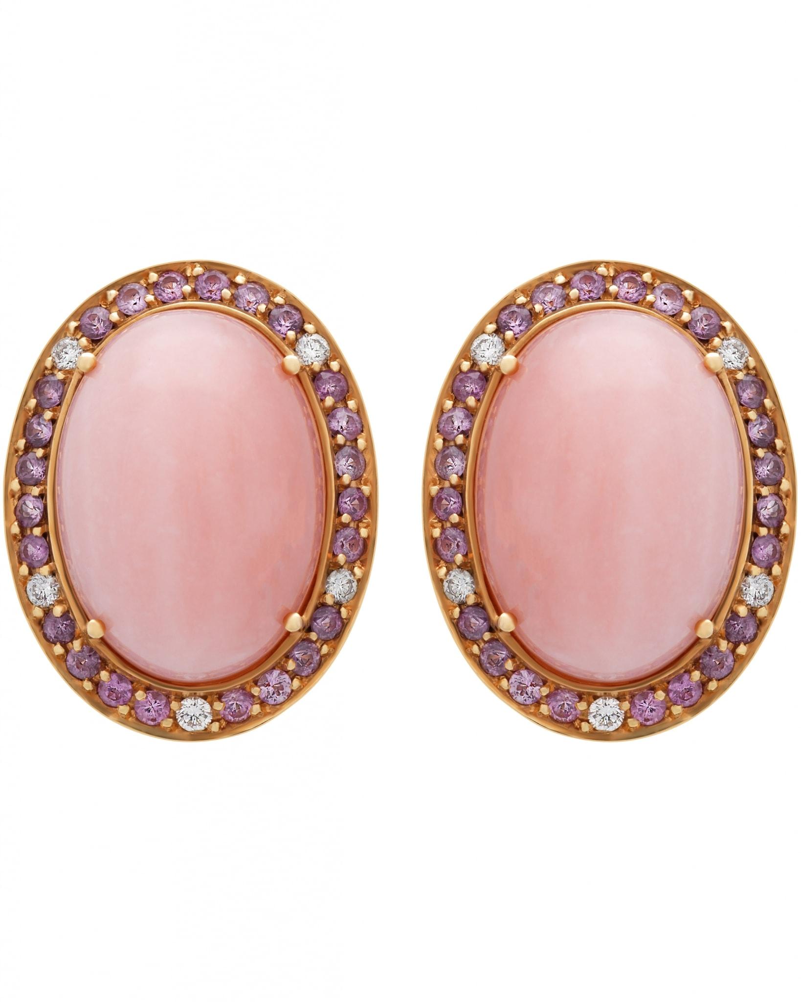 GIANNI LAZZARO – 18K Rose Gold, Diamonds, Pink Sapphires, & Pink Opal, Earrings