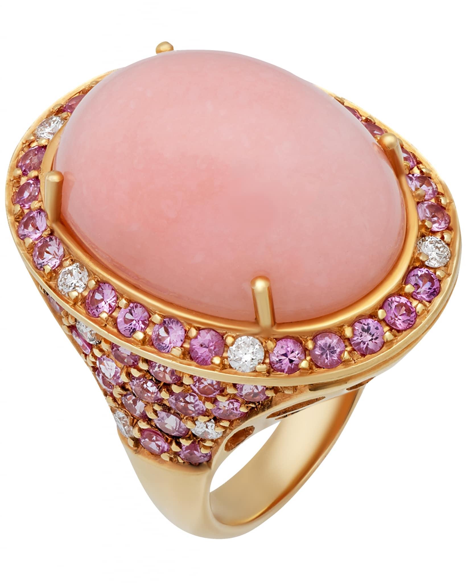 GIANNI LAZZARO – 18K Rose Gold, Diamonds, Pink Sapphires, & Pink Opal, Ring