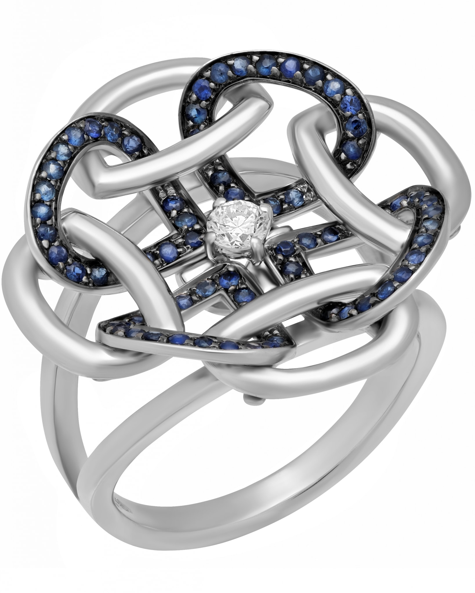 GIANNI LAZZARO – 18K White Gold, Diamonds, & Blue Sapphires, Ring sz 6.25