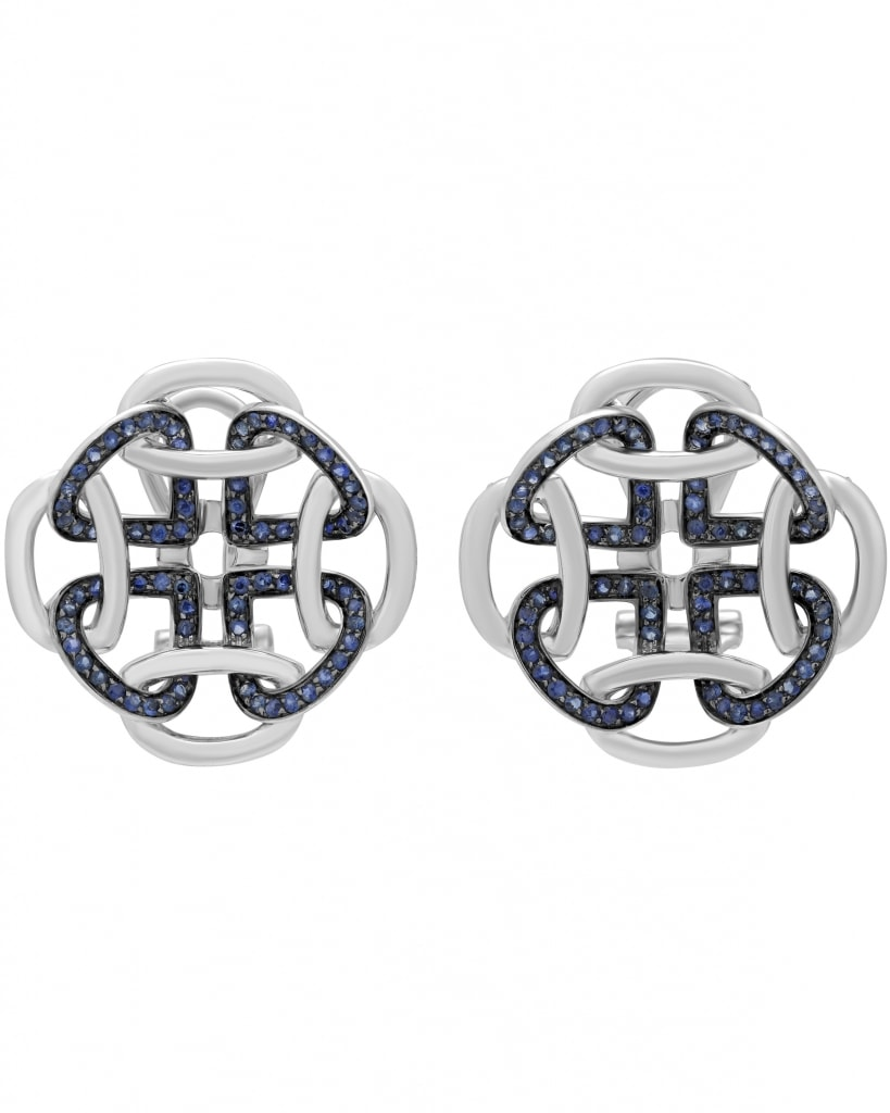 GIANNI LAZZARO – 18K White Gold, Blue Sapphires, Earrings 5428