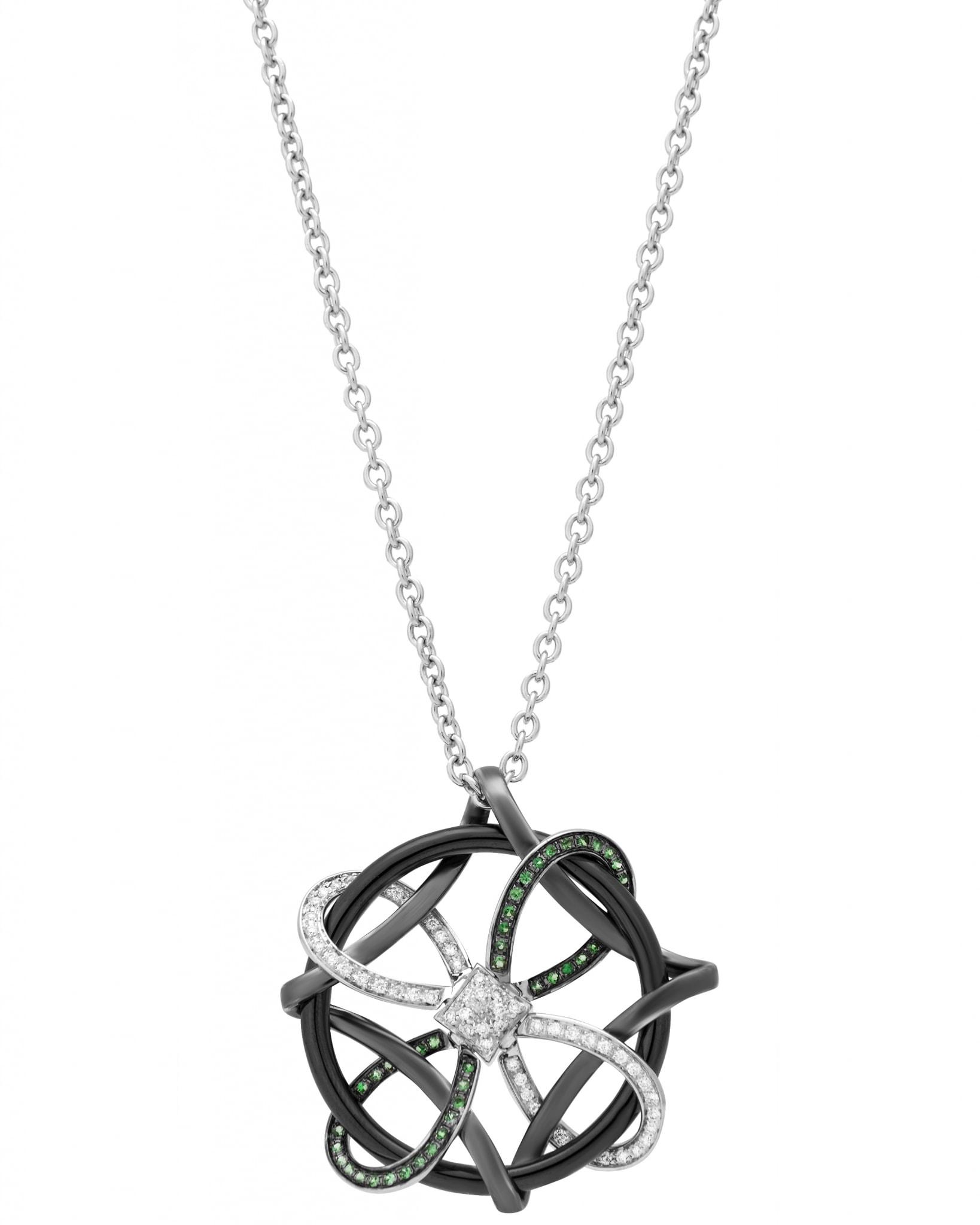 GIANNI LAZZARO -18K White Gold, and Ceramic, Diamonds, & Tsavorite, Necklace