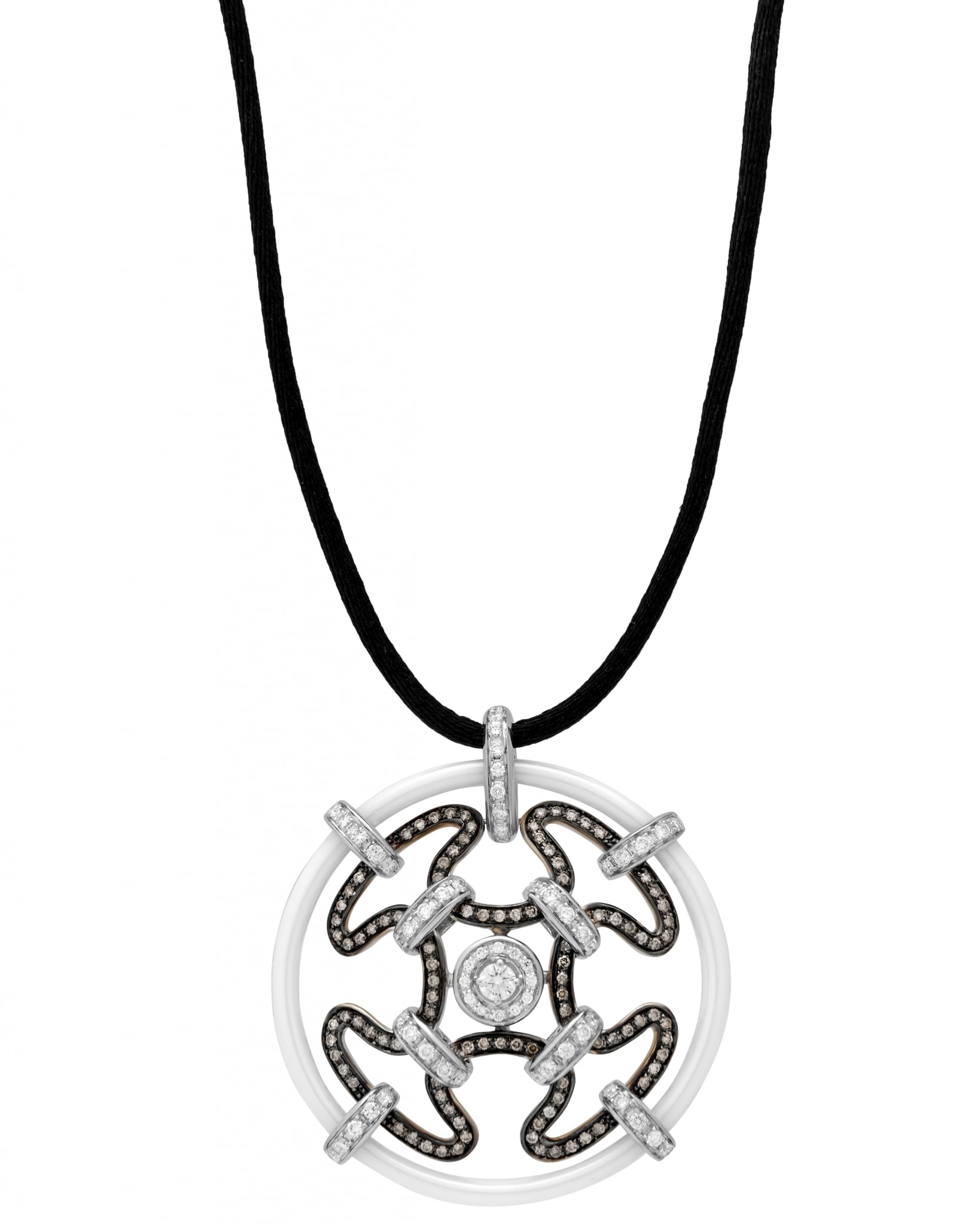 GIANNI LAZZARO – 18K White and Rose Gold, and Ceramic, Diamonds,& Tsavorite, Necklace