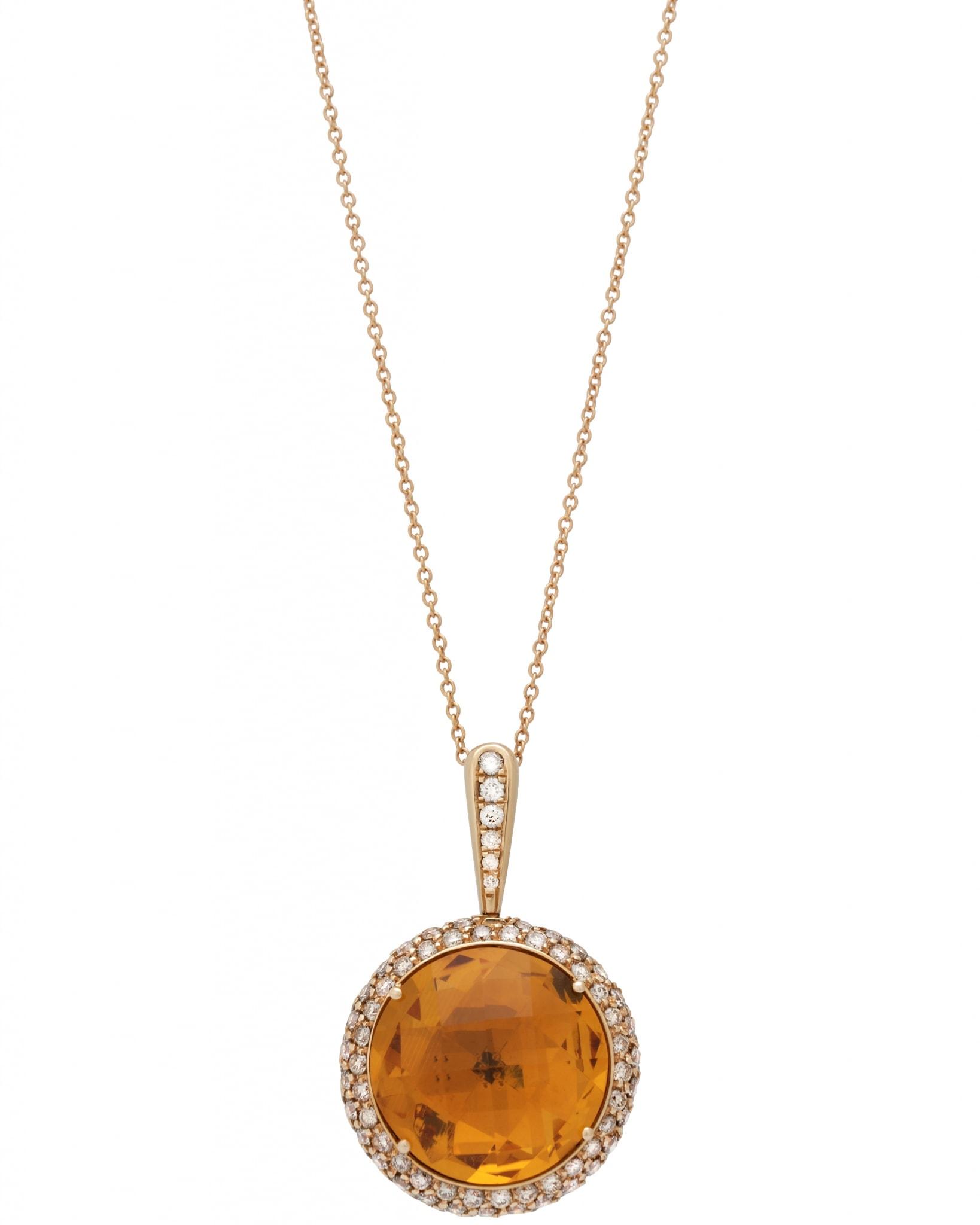 GIANNI LAZZARO – 18K Diamonds, & Topaz Citrine, Necklace 7289