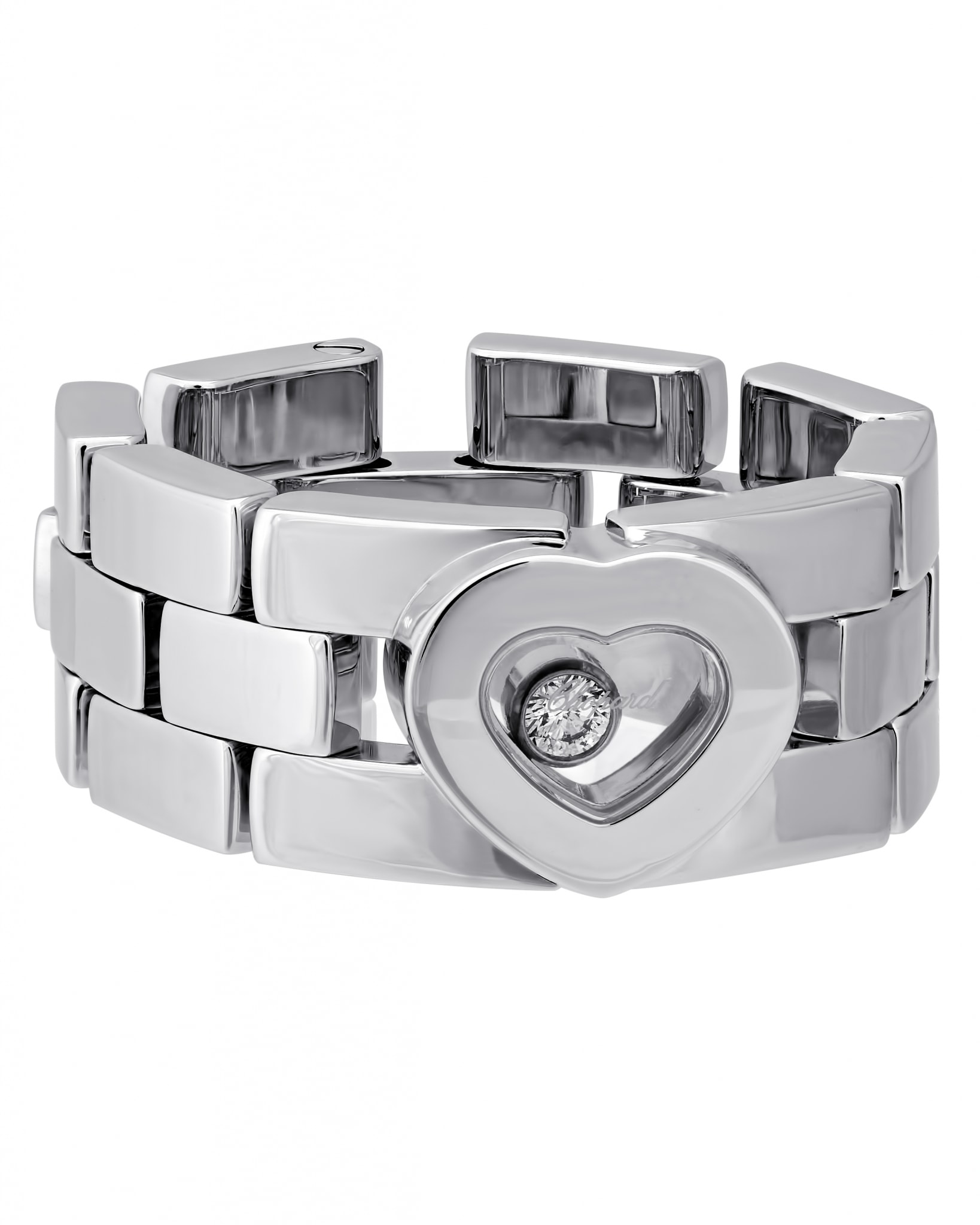 Chopard 18K White Gold Diamond Happy Diamonds Ring 82-6992-1054