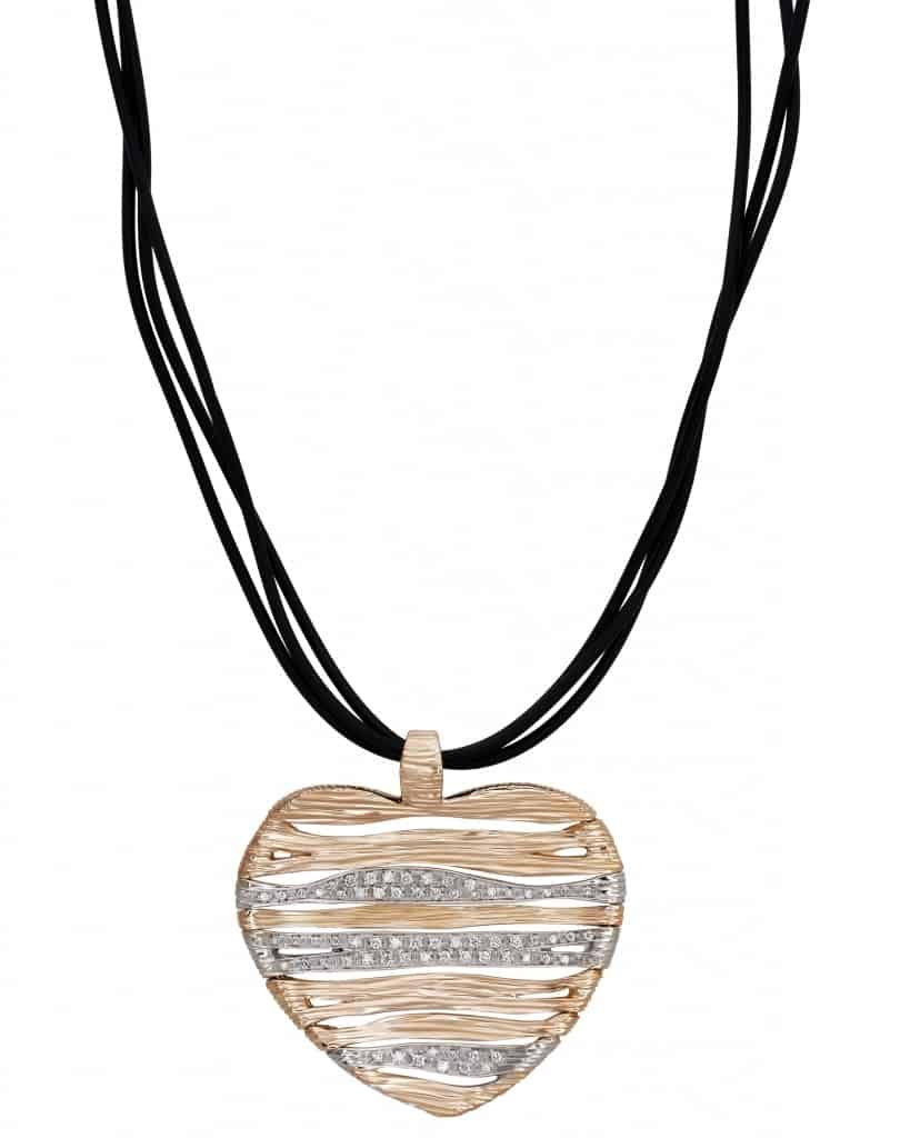 Roberto Coin – 18K Rose/White Gold, Diamond & Ruby Necklace With Rubber Strap ADR130CL0440