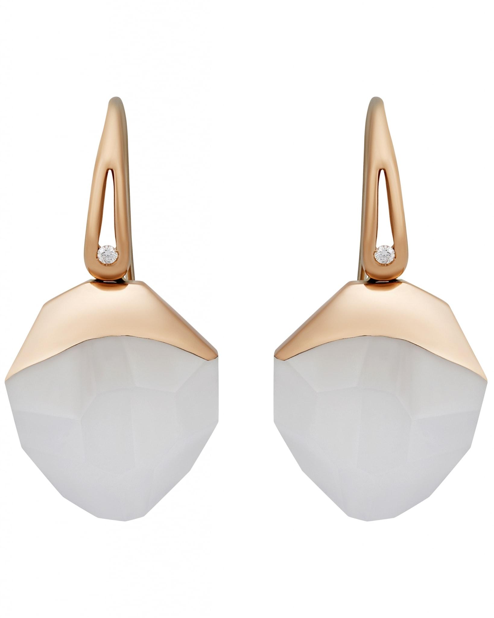 Roberto Coin – 18K Rose Gold, White Quartz & Ruby Earrings ADV130EA1126
