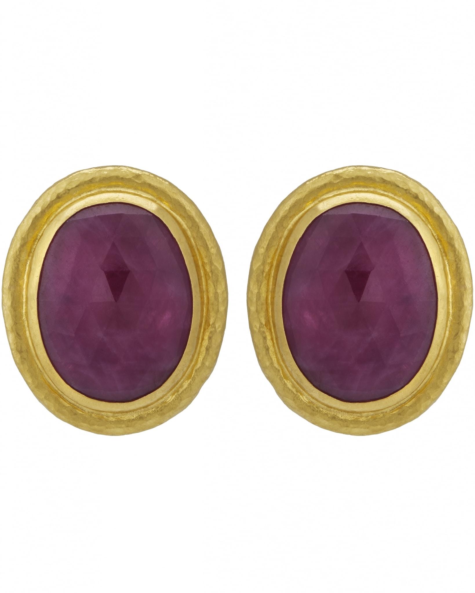 GURHAN – Earrings, 24k Gold with Rosecut Ruby