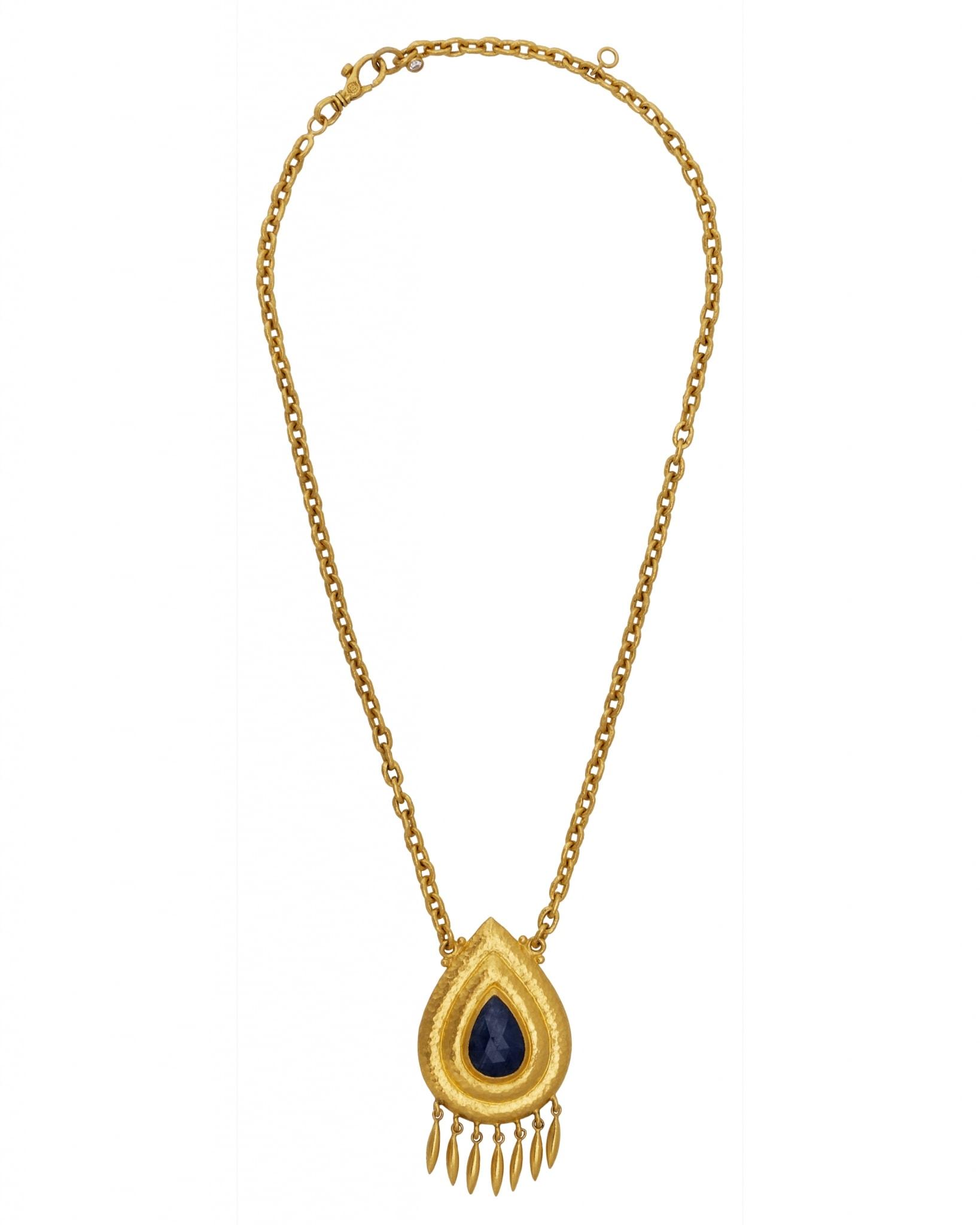 GURHAN 24K Yellow Gold Sapphire Necklace N-U8691-SA
