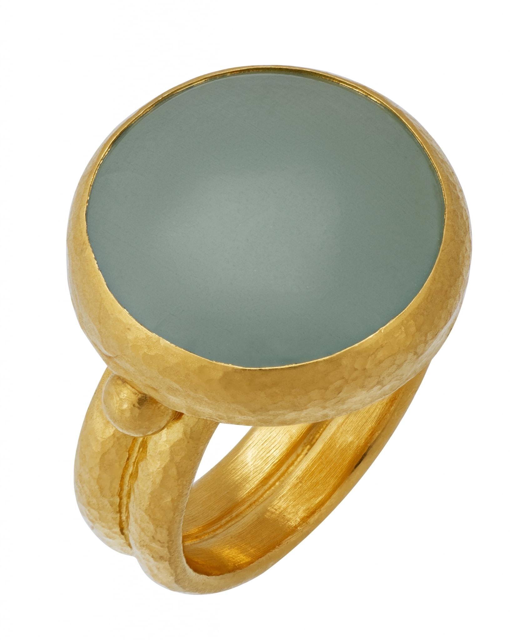 GURHAN 24K Yellow Gold Aquamarine Ring R-AQ18-SGB