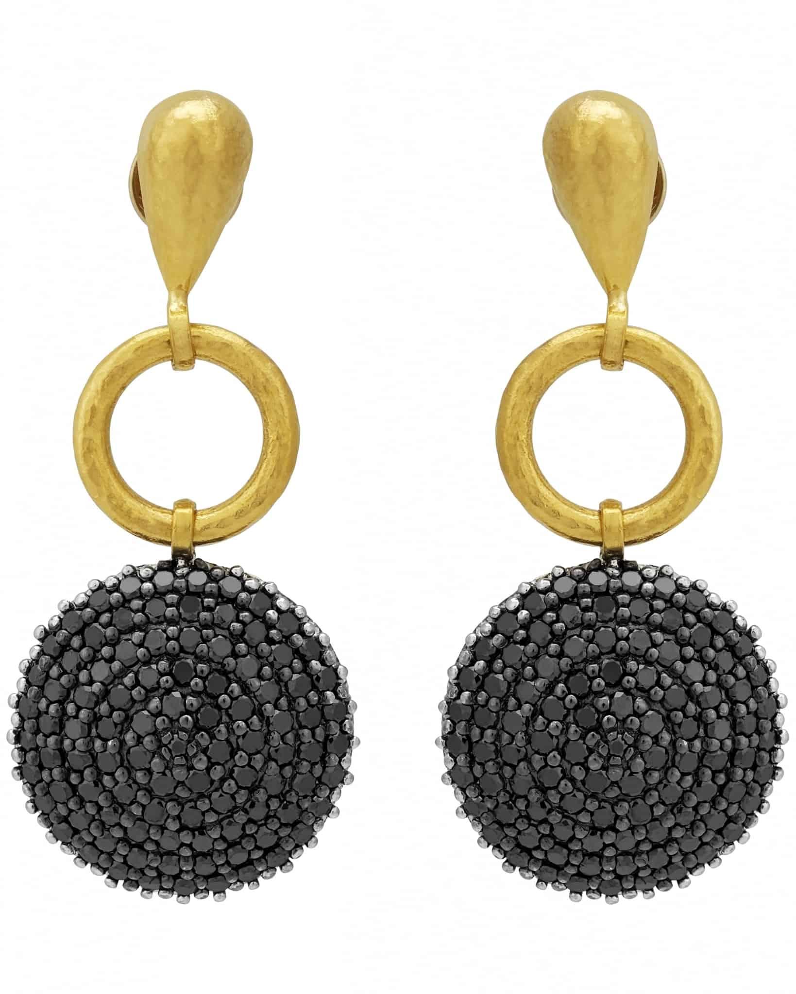 GURHAN – Black Diamond 24k Yellow Gold Drop Earrings TDE-RH8-BDI-LTD18