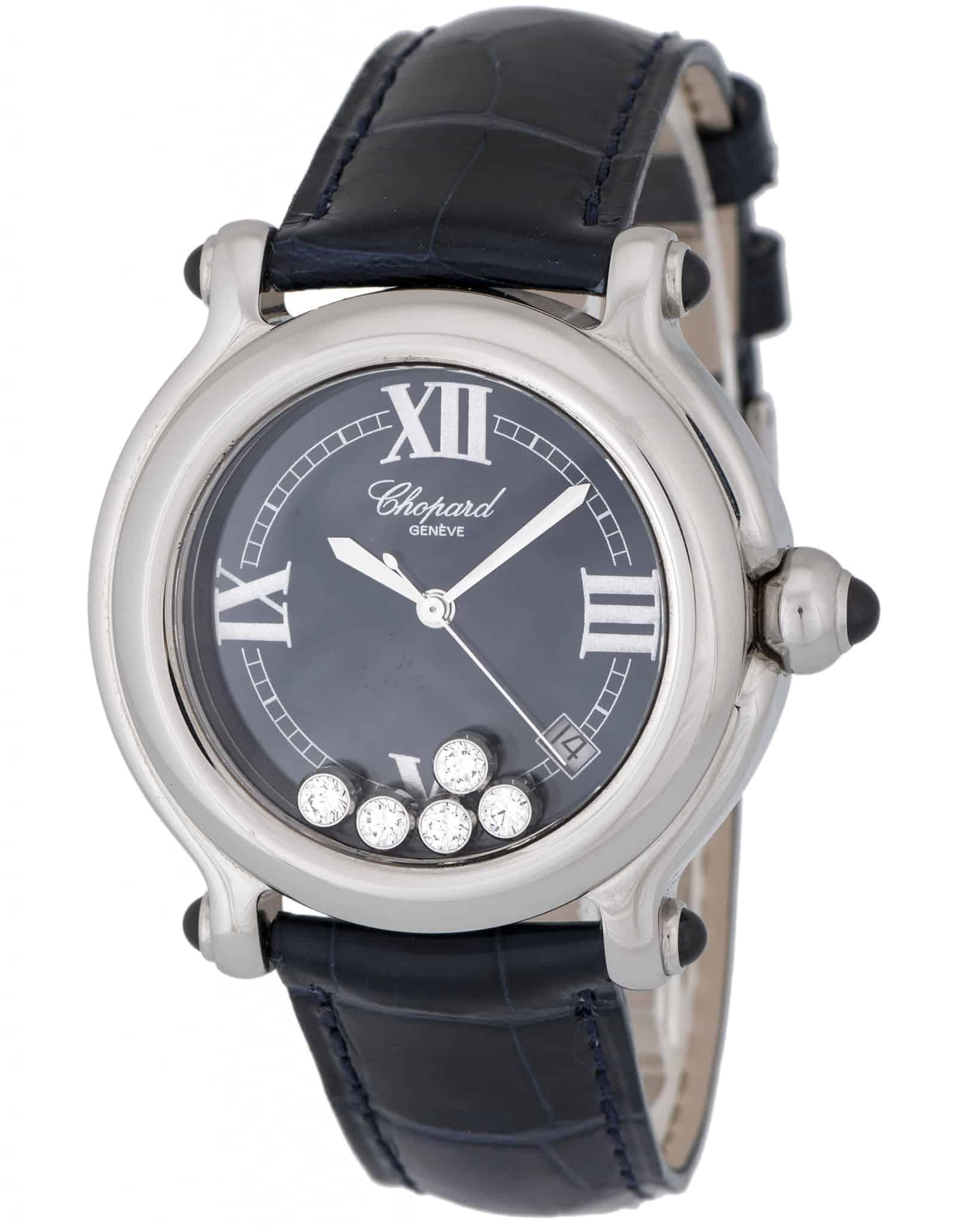 Chopard Happy Sport Round Diamond Quartz Ladies Watch 28-8964/23