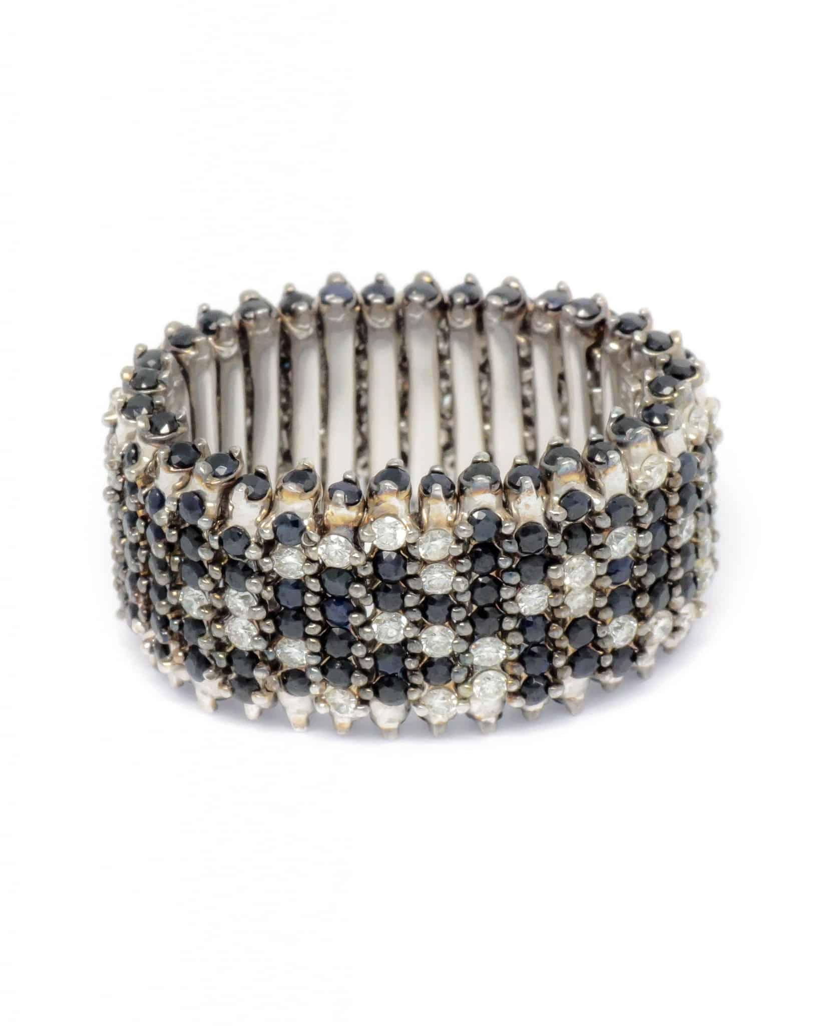 ROBERTO COIN 18K White Gold Diamonds & Blk Sapphire Ring sz 7.25 273417AWLRBD
