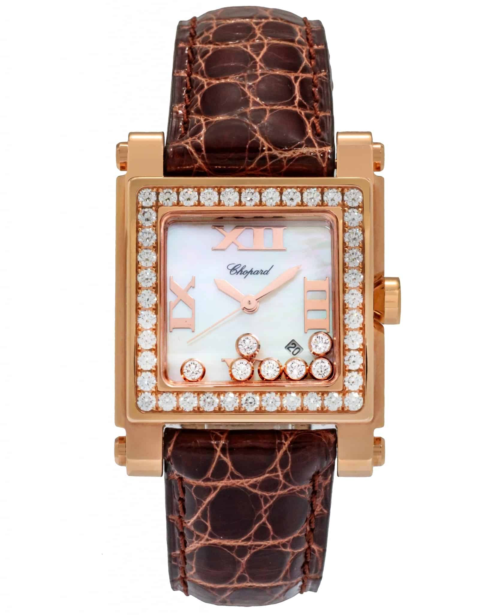 Chopard 18K Rose Gold Happy Sport Square Quartz Diamond Ladies Watch 275321-5002