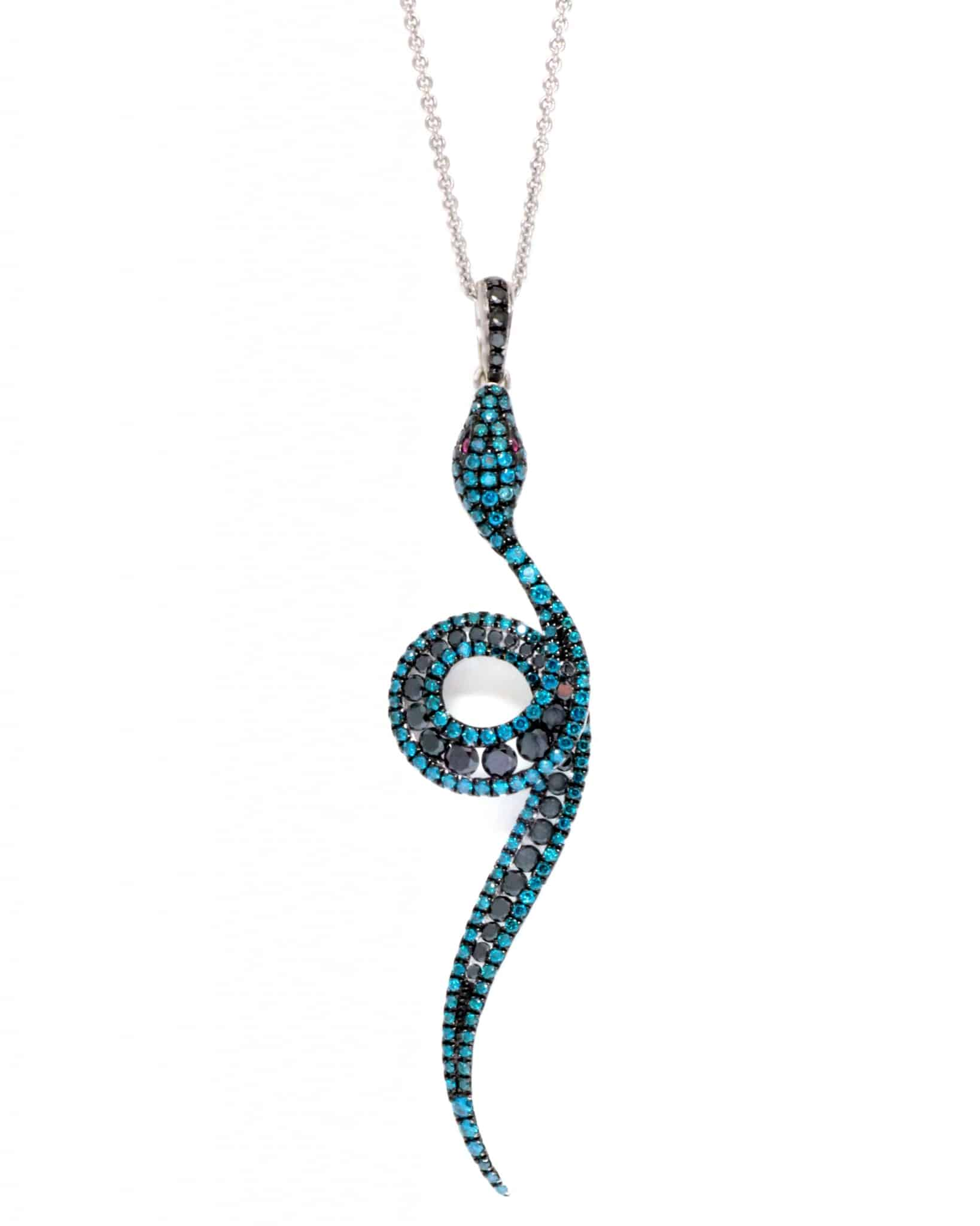ROBERTO COIN 18K White Gold W Blue Diamond Necklace 519100AWCHBD