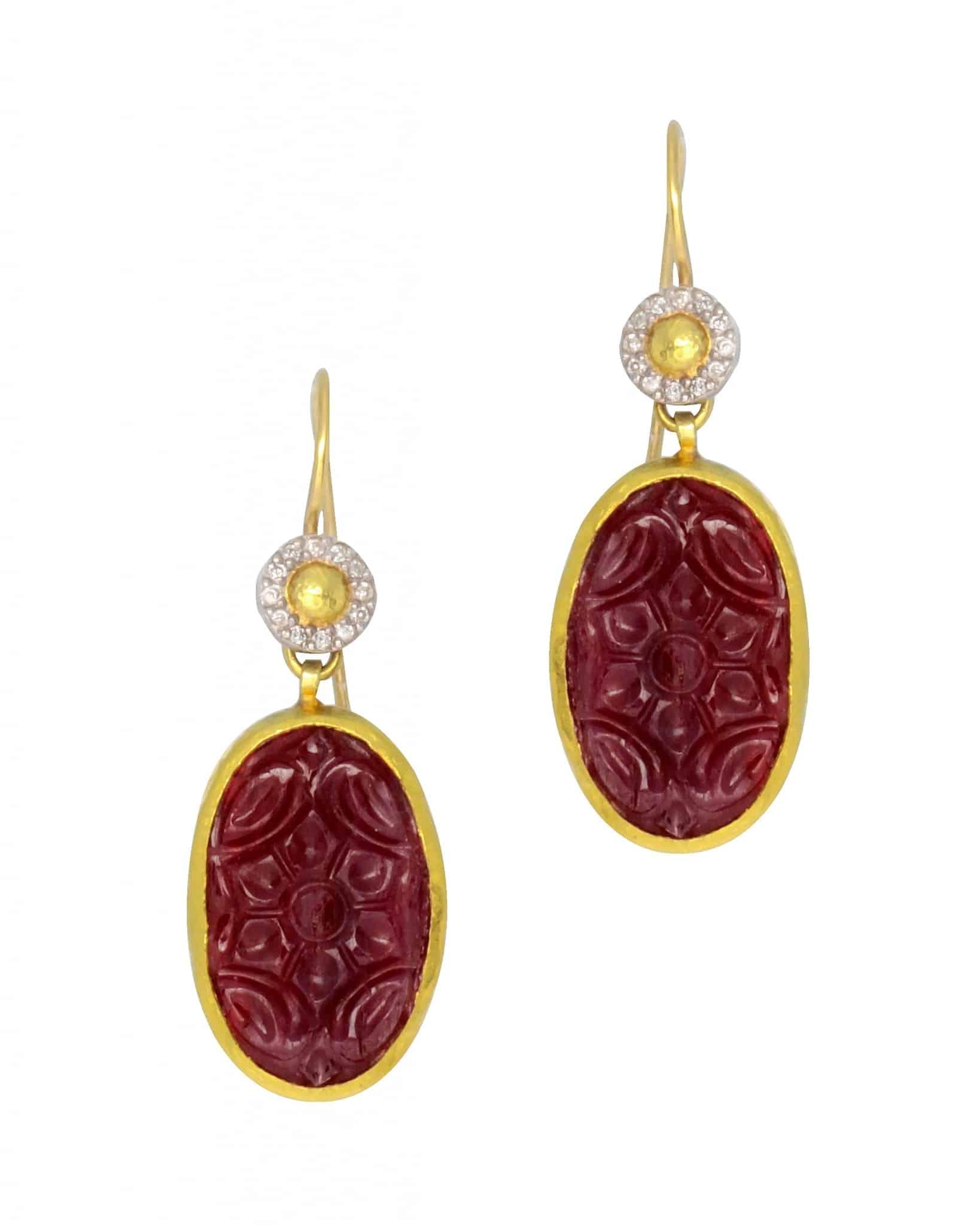 GURHAN – One of a Kind Aurora drop earrings in 24K gold E-U17465-RU