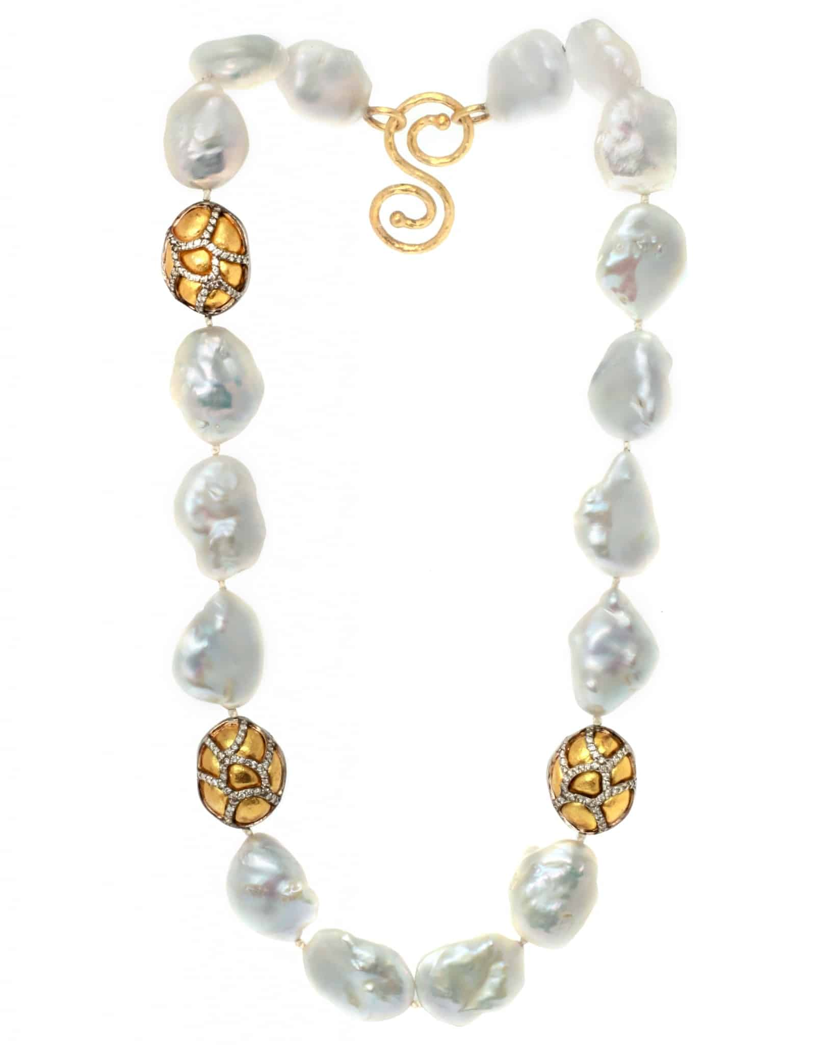GURHAN Classic Gossamer Diamond Fresh Water Pearl Necklace N-WFWPB-3GOBDI-20