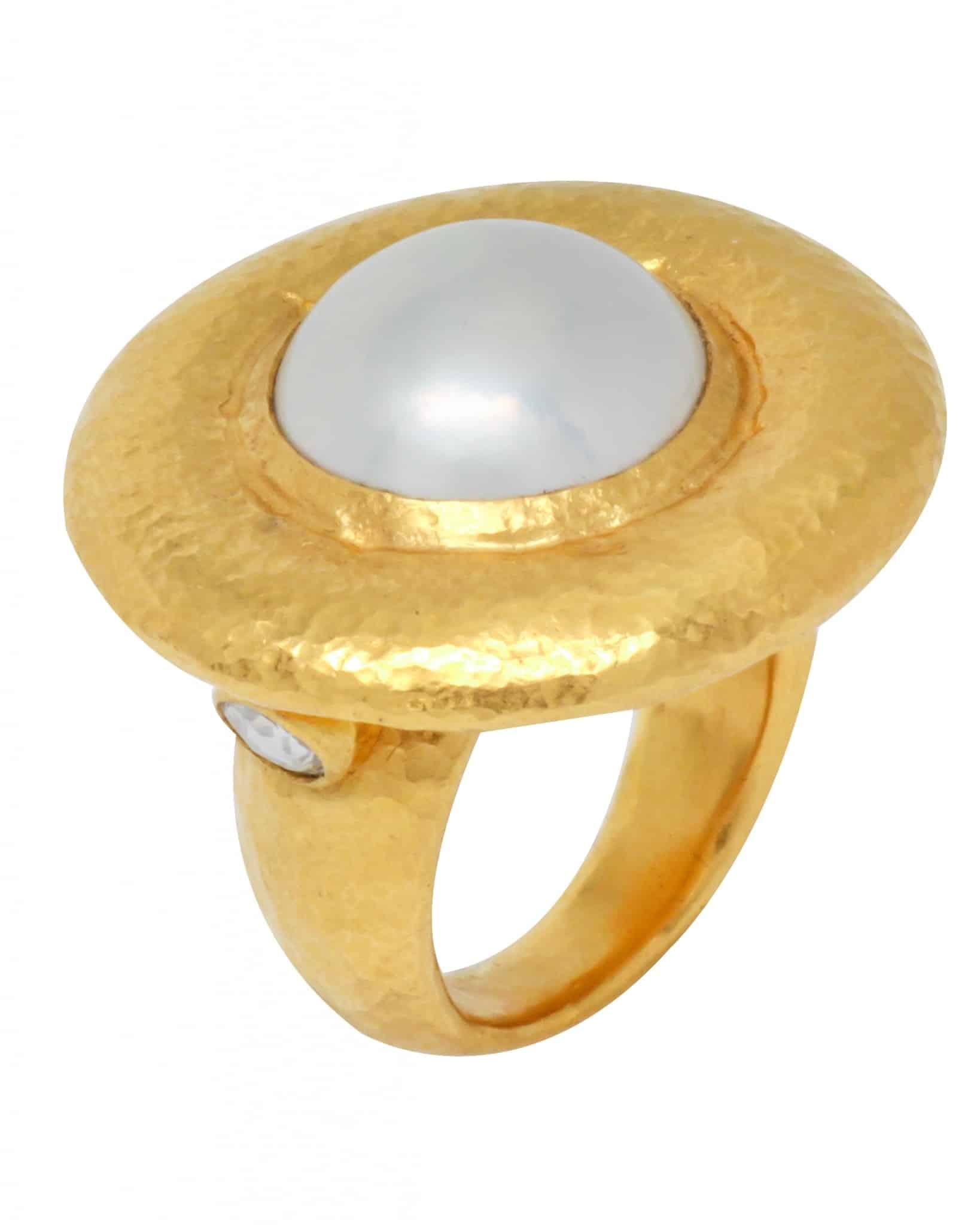 GURHAN – Gold Ring white mabe pearl, sz 6.25 RLGWFWMPR152DIRC