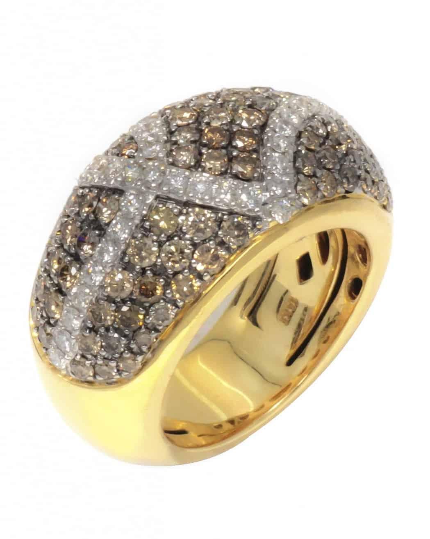 ROBERTO COIN 18K Yellow Gold Fantasy Ring W/ Brn Diamonds Sz 6.25 888061AYLRBD