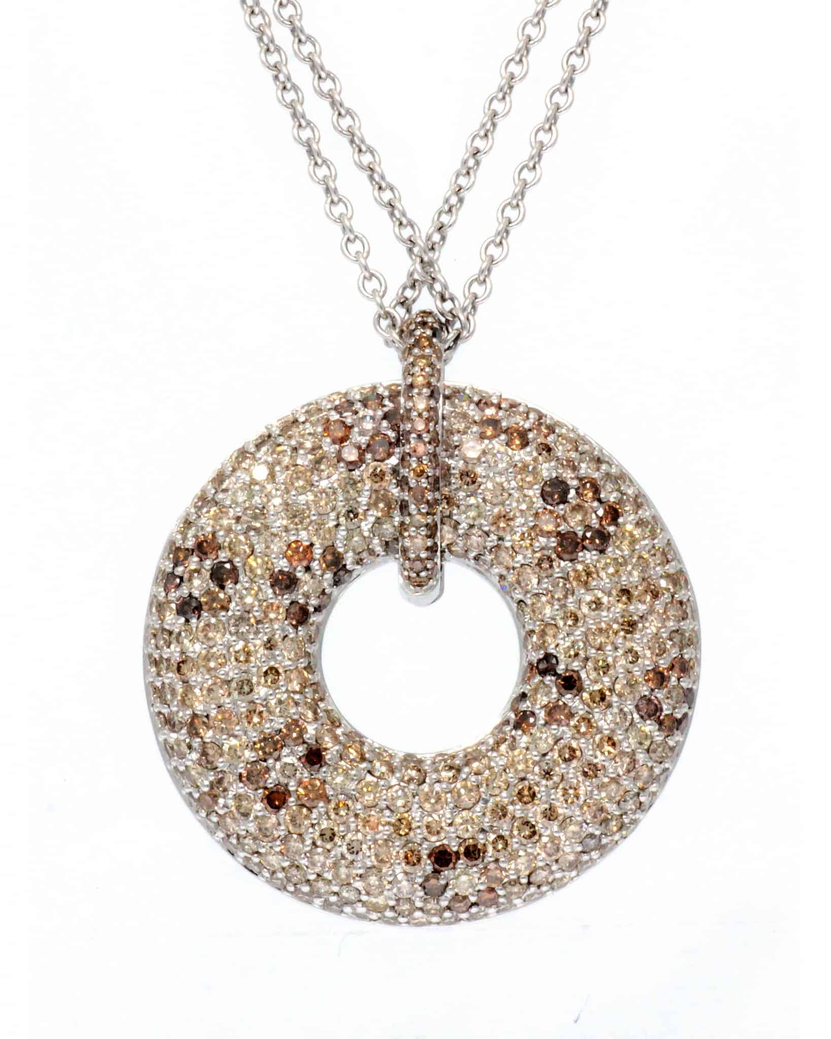ROBERTO COIN 18K White Gold Diamond Donut Double Strand Necklace 888094AWCHBD