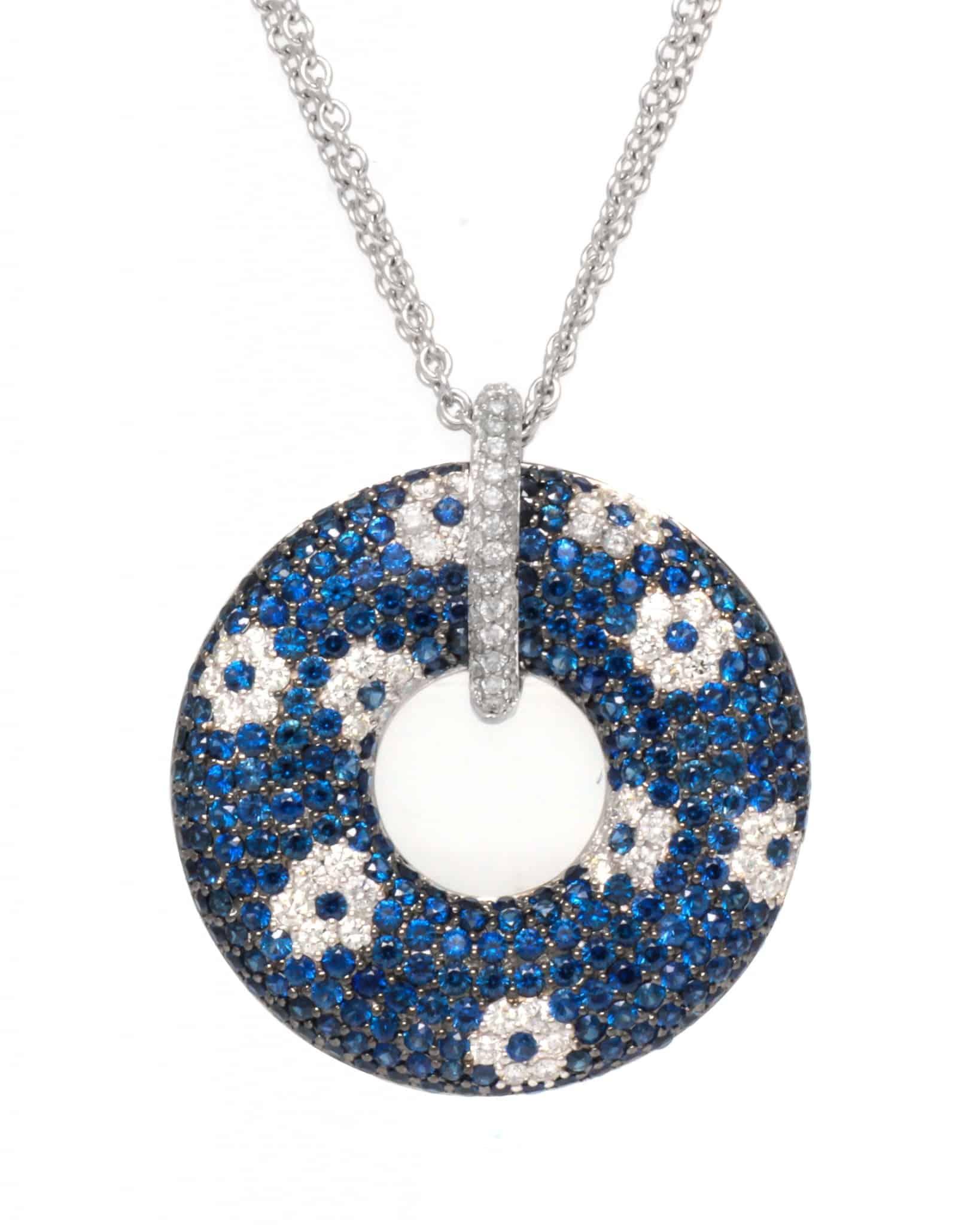 ROBERTO COIN 18K White Gold B Sap Diamond Flower Necklace 888094AWCHDS