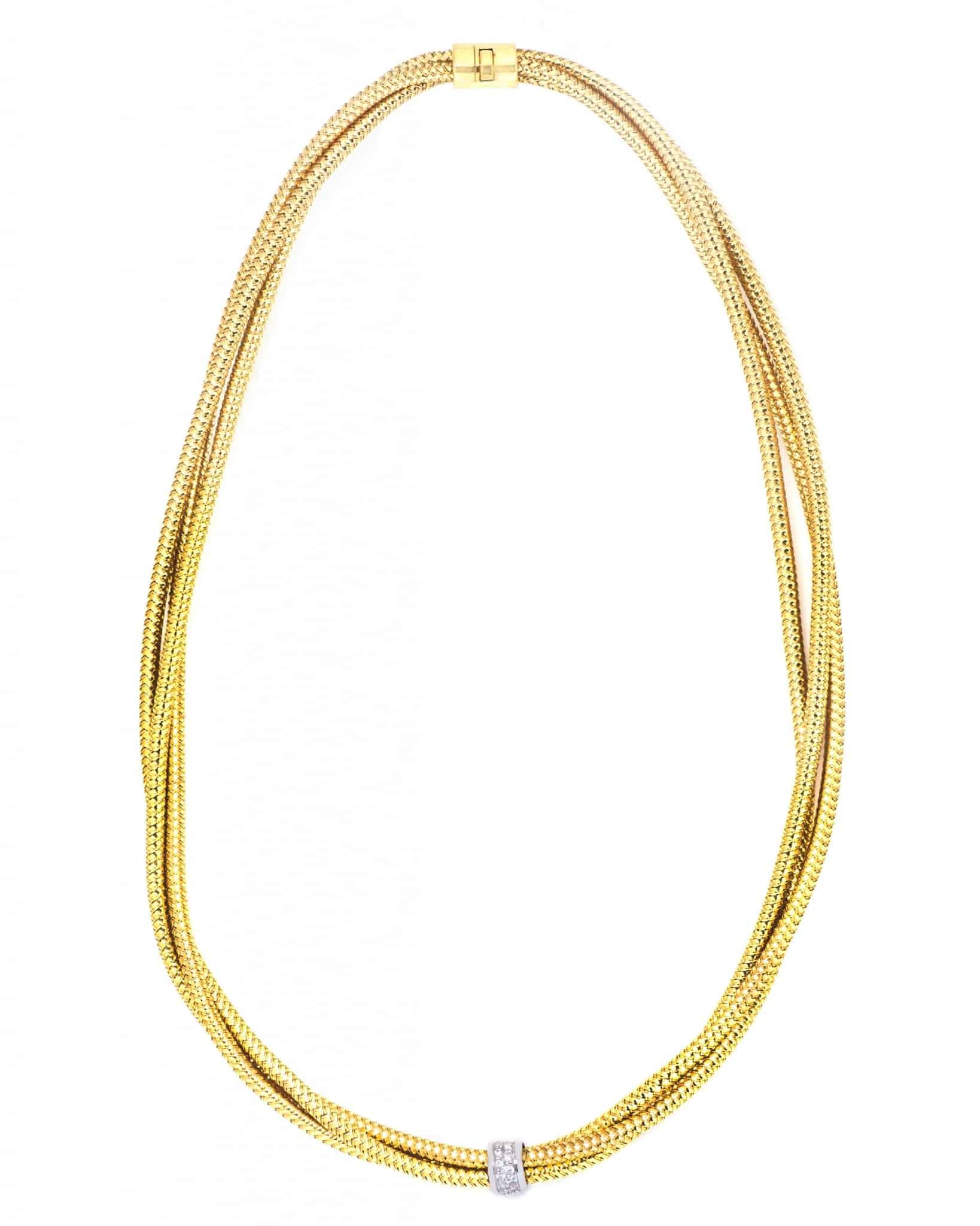 ROBERTO COIN 18K Yellow And White Gold Mesh Necklace Primavera 557378AJCHXO