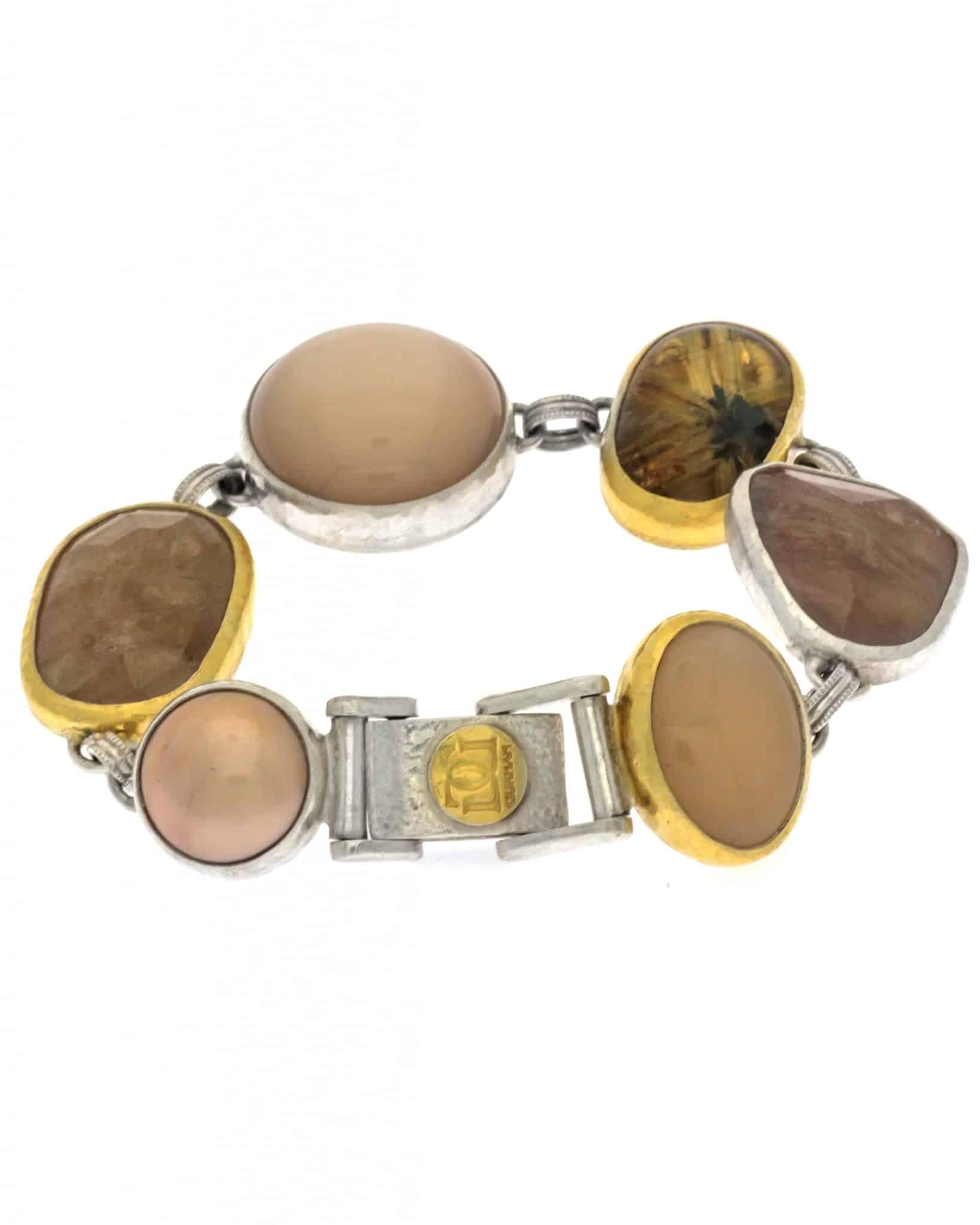 GURHAN Mixed Cabachon Stones Galapagos Bracelet 24K SB-U17371-MS