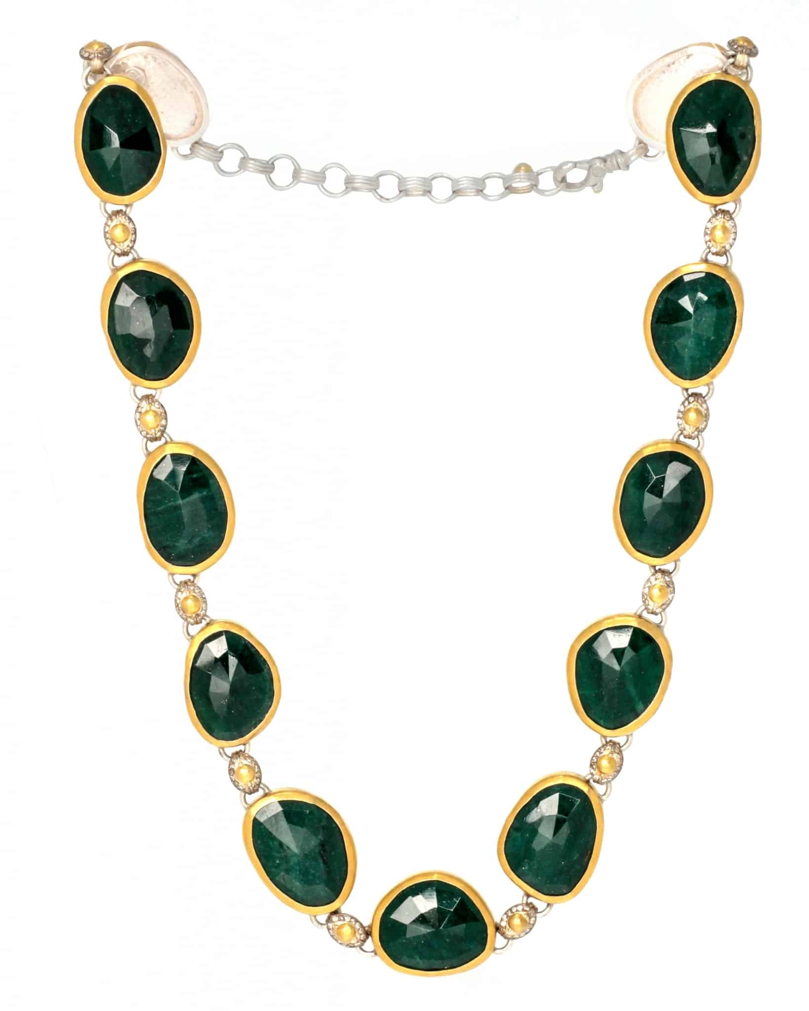 GURHAN Necklace White Silver and Gold with Aventurine SN-ELM-AV-AA