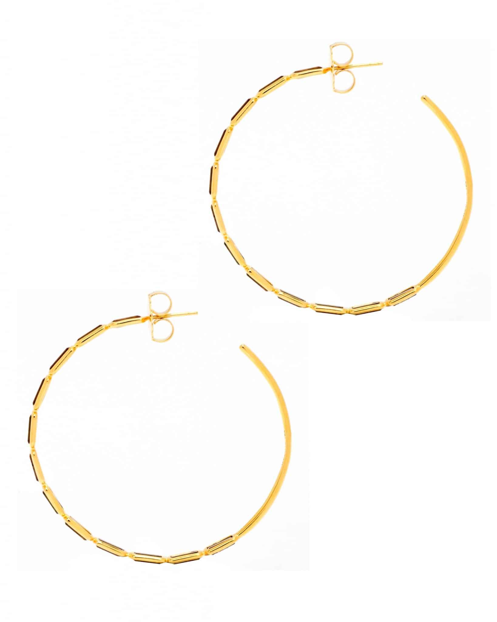 IPPOLITA 18K Gold Rock Candy Gelato Rectangular Stone Hoop Earrings GE1314CN