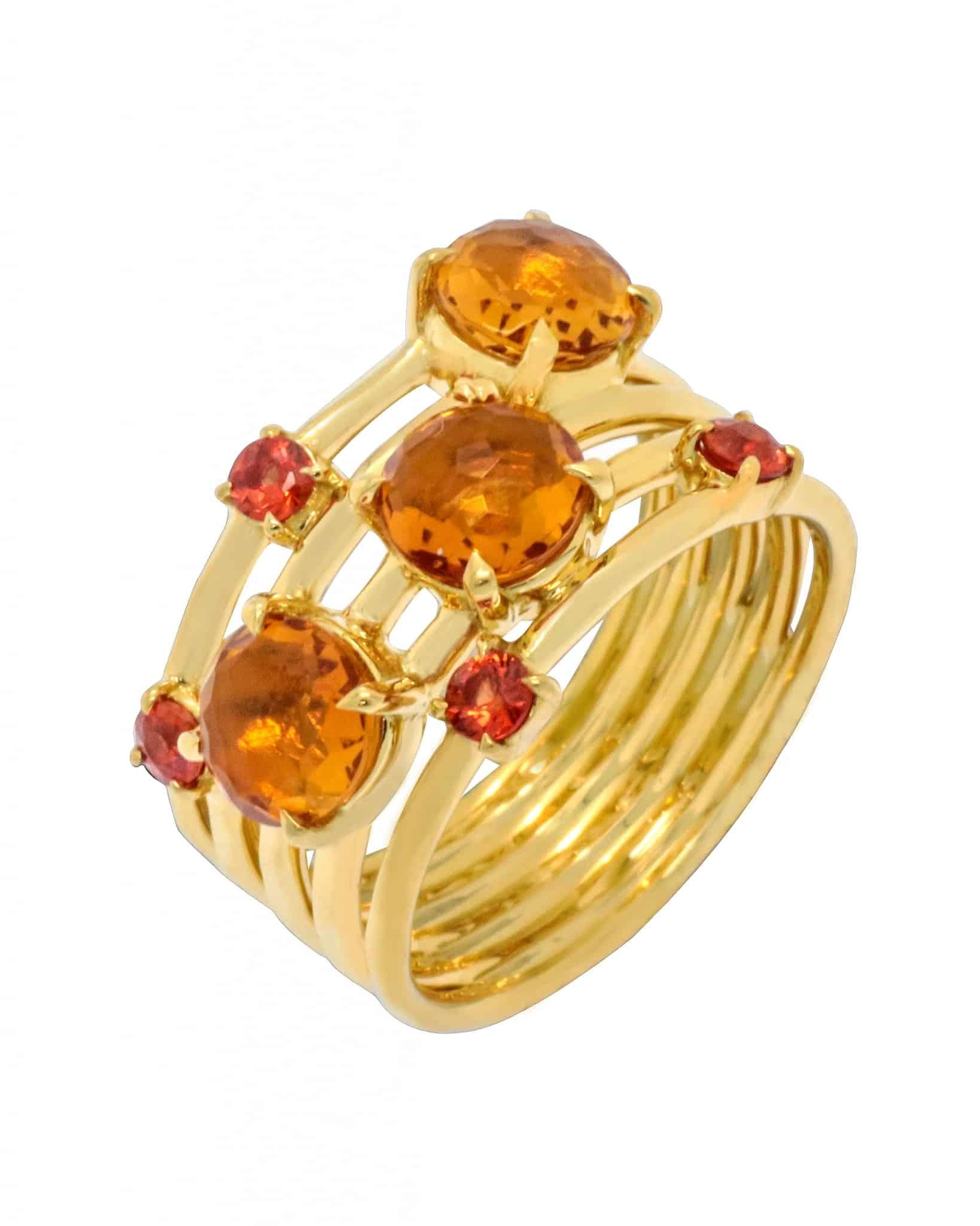 IPPOLITA 18K Gold Lollipop Constellation Ring in Citrine & Sapphire Sz 7 GR616OCOS3