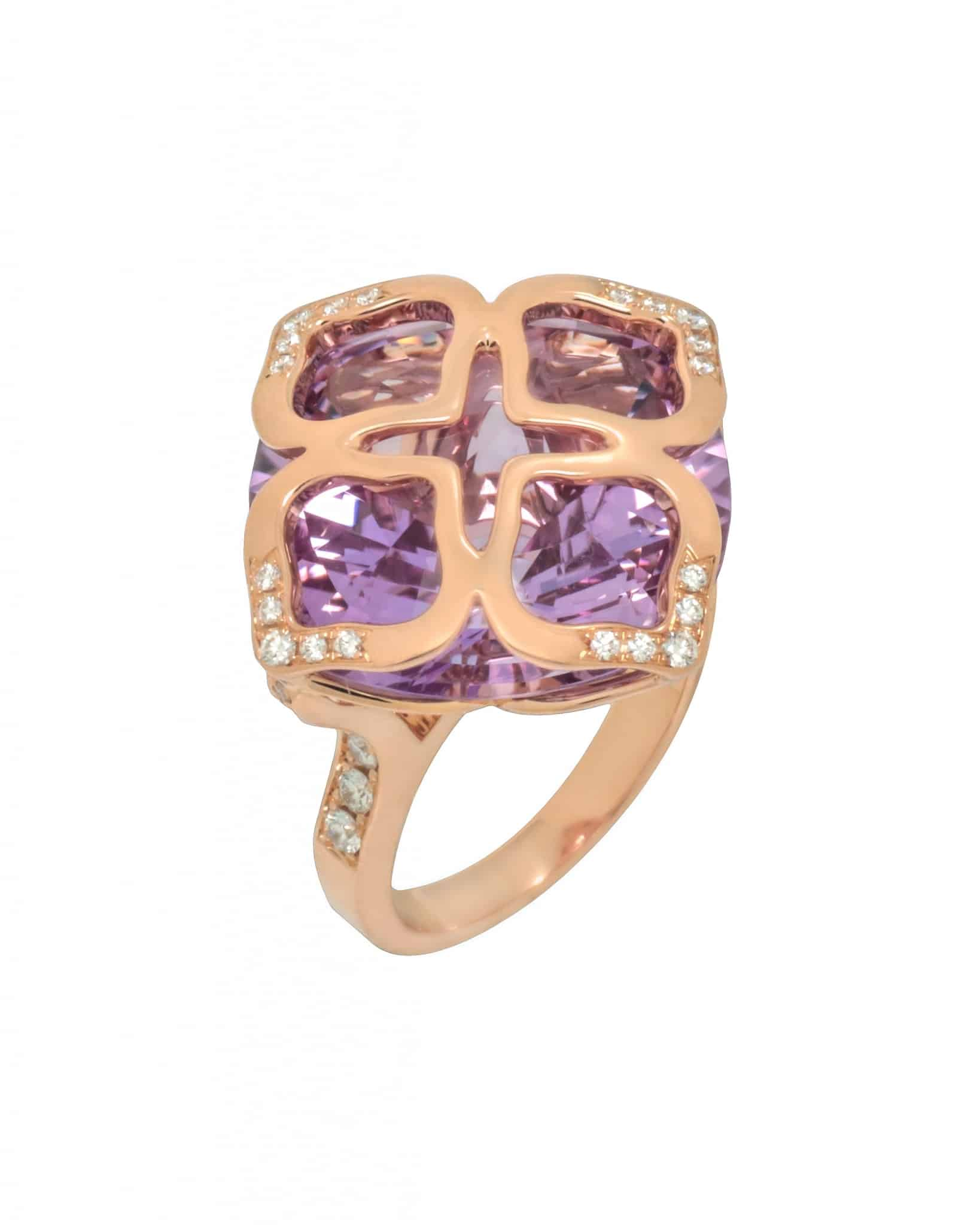 Chopard 18K Rose Gold Purple Amethyst and Diamond Ring – Size 6.25 829563-5010