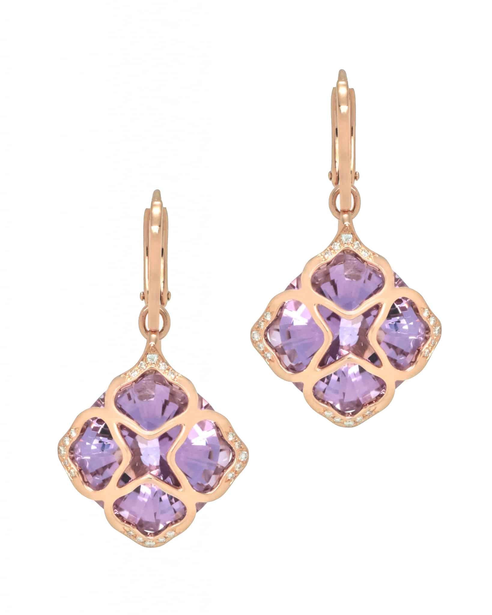 Chopard 18K Rose Gold, Purple Amethysts And Diamond Earrings 8395635001 MSRP $7,330