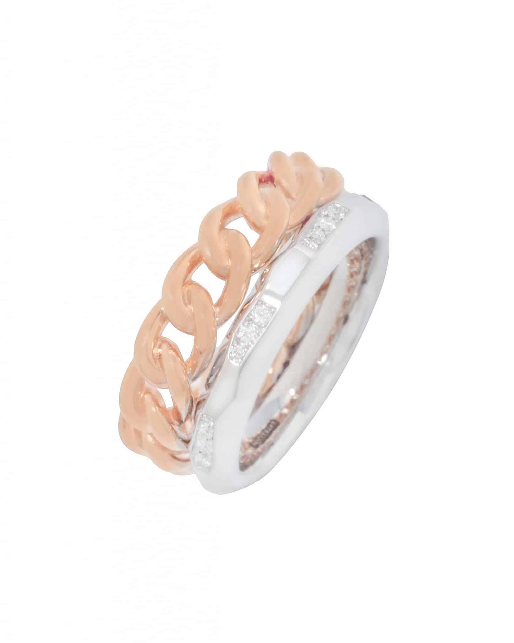 """POMELLATO  """"Milano"""" 18K White & Pink Gold Ring  A.B509/B9/O7 Sz 5.75"""