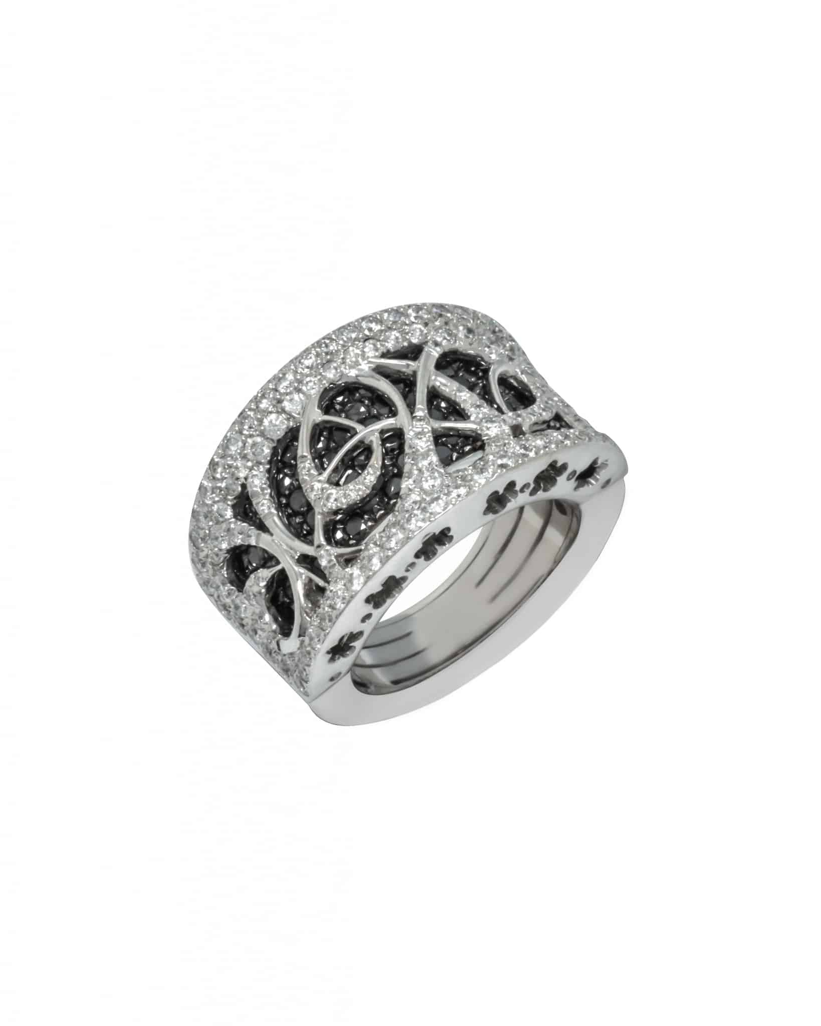 Bibigi 18K White Gold Black Diamond And Diamond Ring Sz 6 5