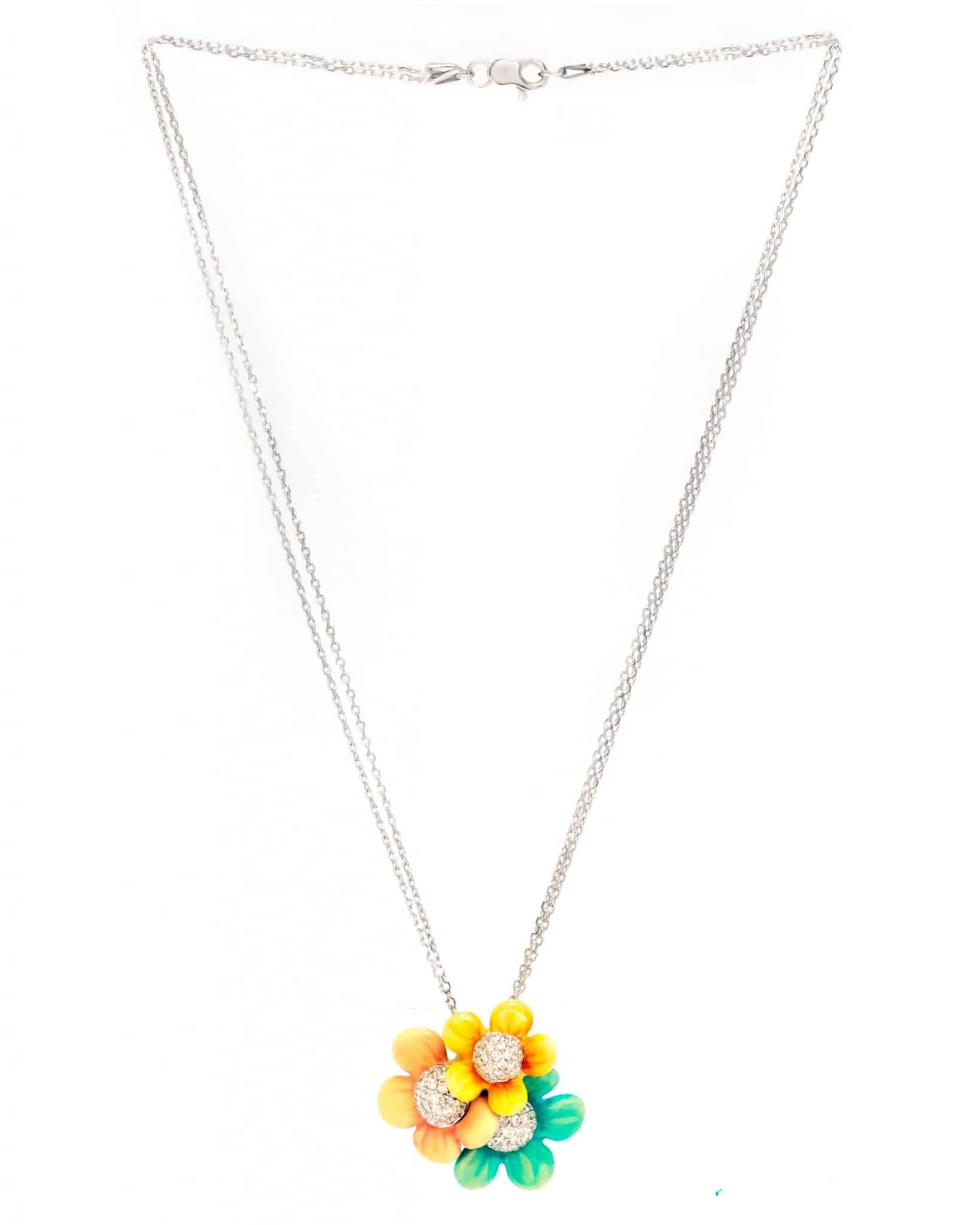 Bibigi 18K White Gold, Enamel And Diamond Necklace CLA2500B MSRP $17,000