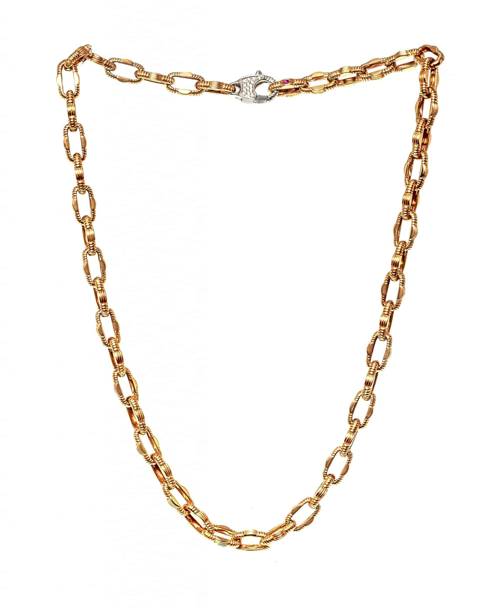 ROBERTO COIN 18K White And Rose Gold Appass Link Necklace 777066AH18X0