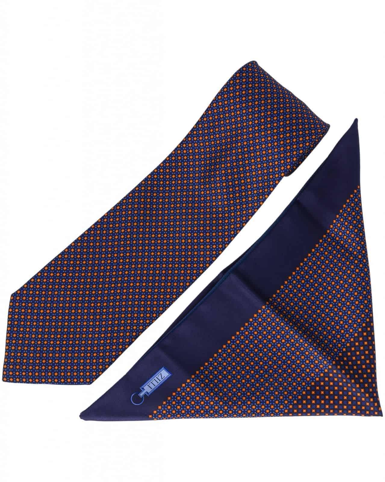 ZILLI – 100% Silk Tie & Pocket Square Set Navy Blue 5463V03