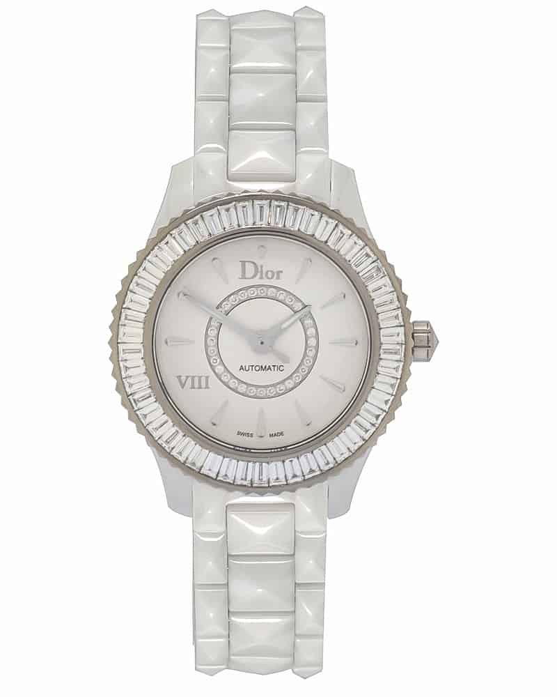 Dior Dior VIII White Ceramic, White Gold & Diamond Ladies Automatic Watch CD1235F9C001