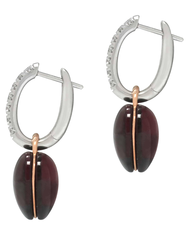 Mimi Milano 18k White Gold Garnet And Diamond Earrings O306C8GB-74