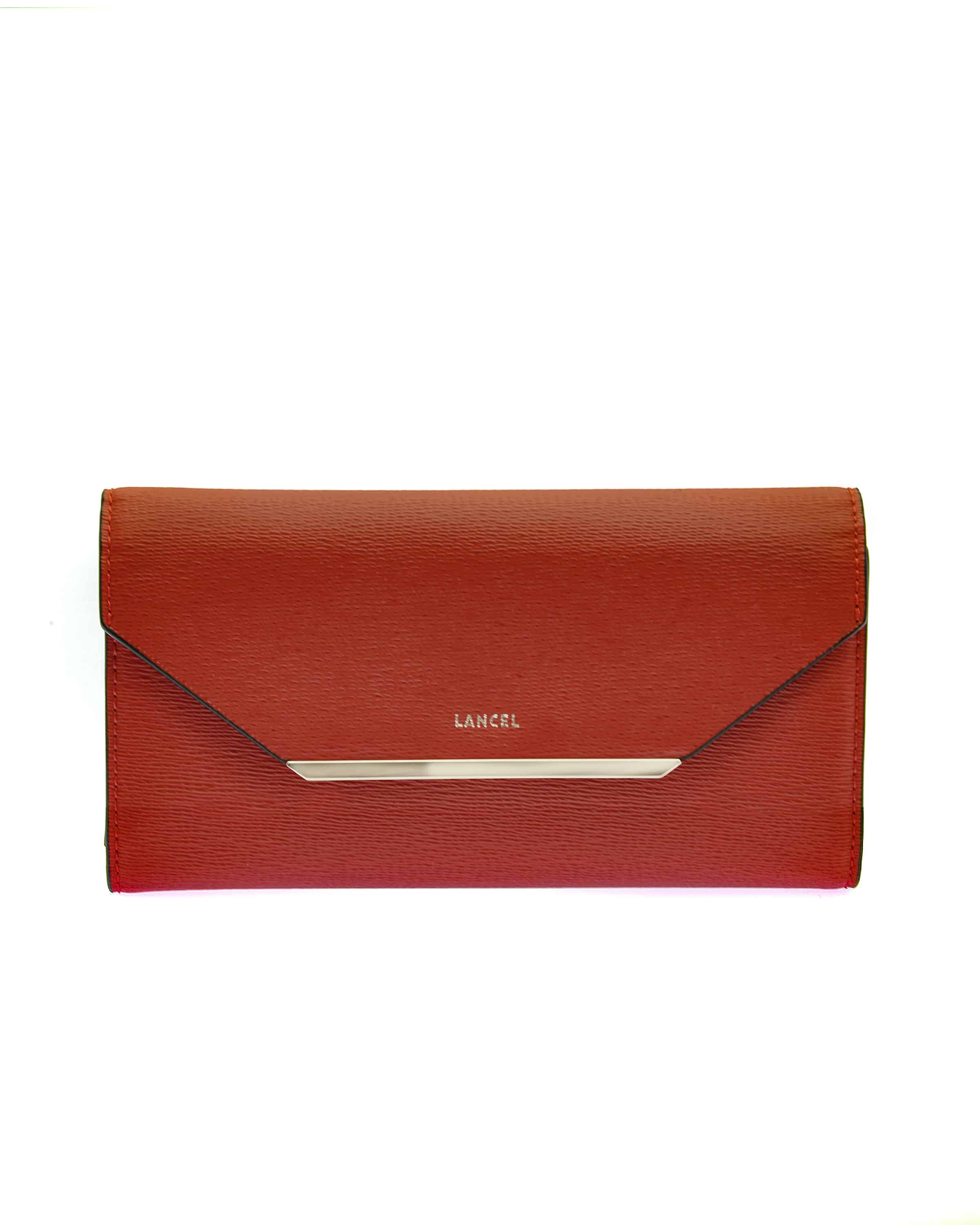 Enveloppe De Lancel Continental Wallet Grained Leather Red A07676IRTU