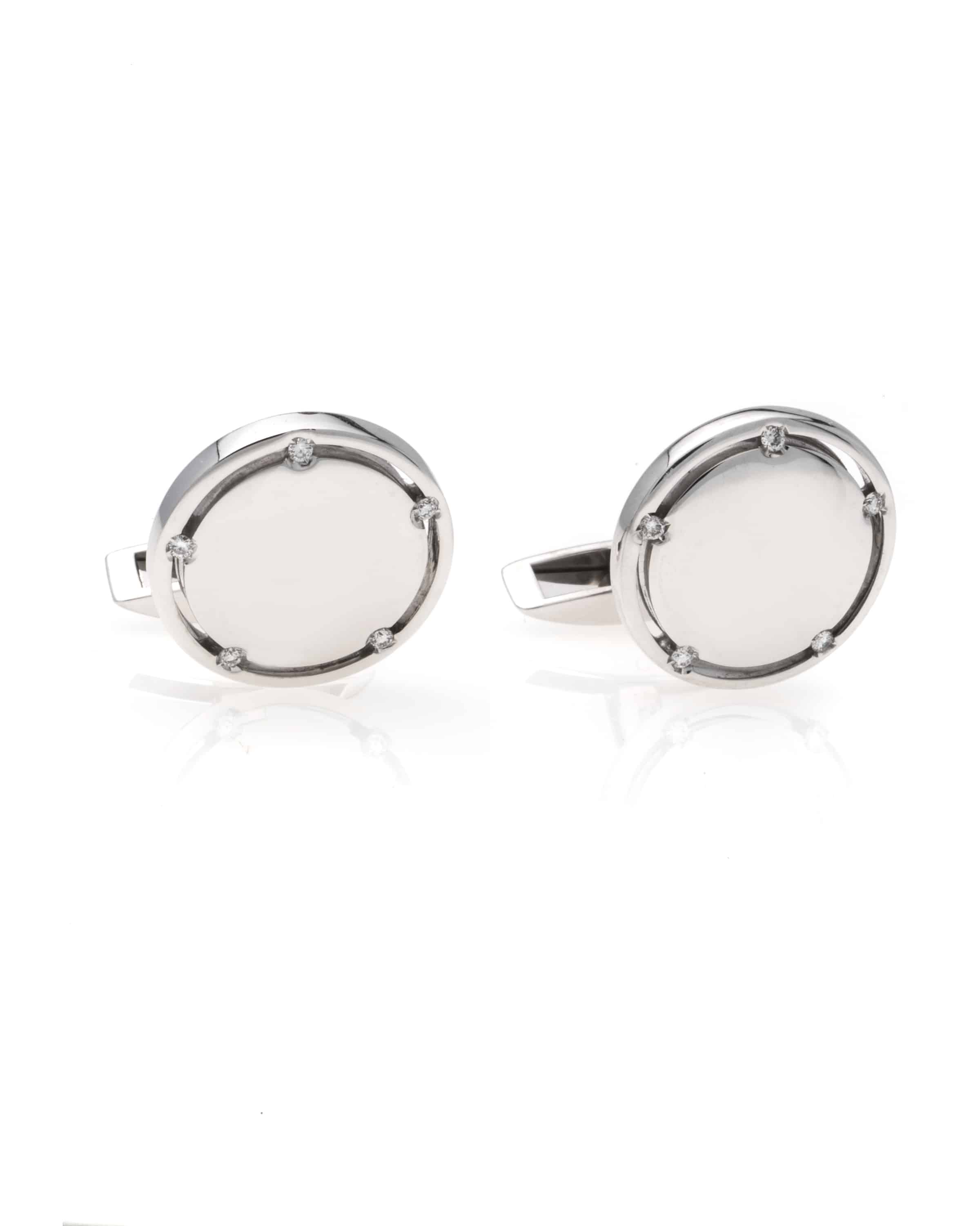 Damiani 18k White Gold And Stainless Steel With Diamond Cufflinks 20012937
