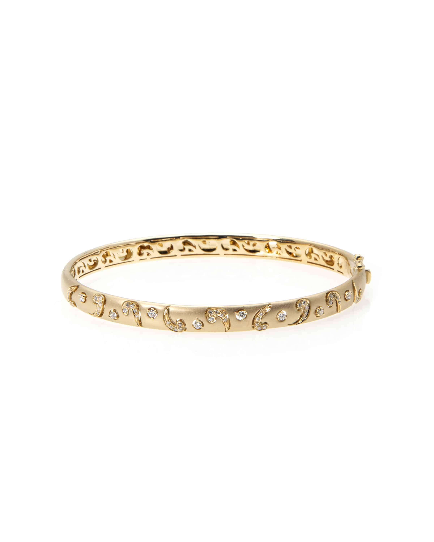 Piero Milano 18k Yellow Gold Diamond Bangle Bracelet B4535bb1 Ebay