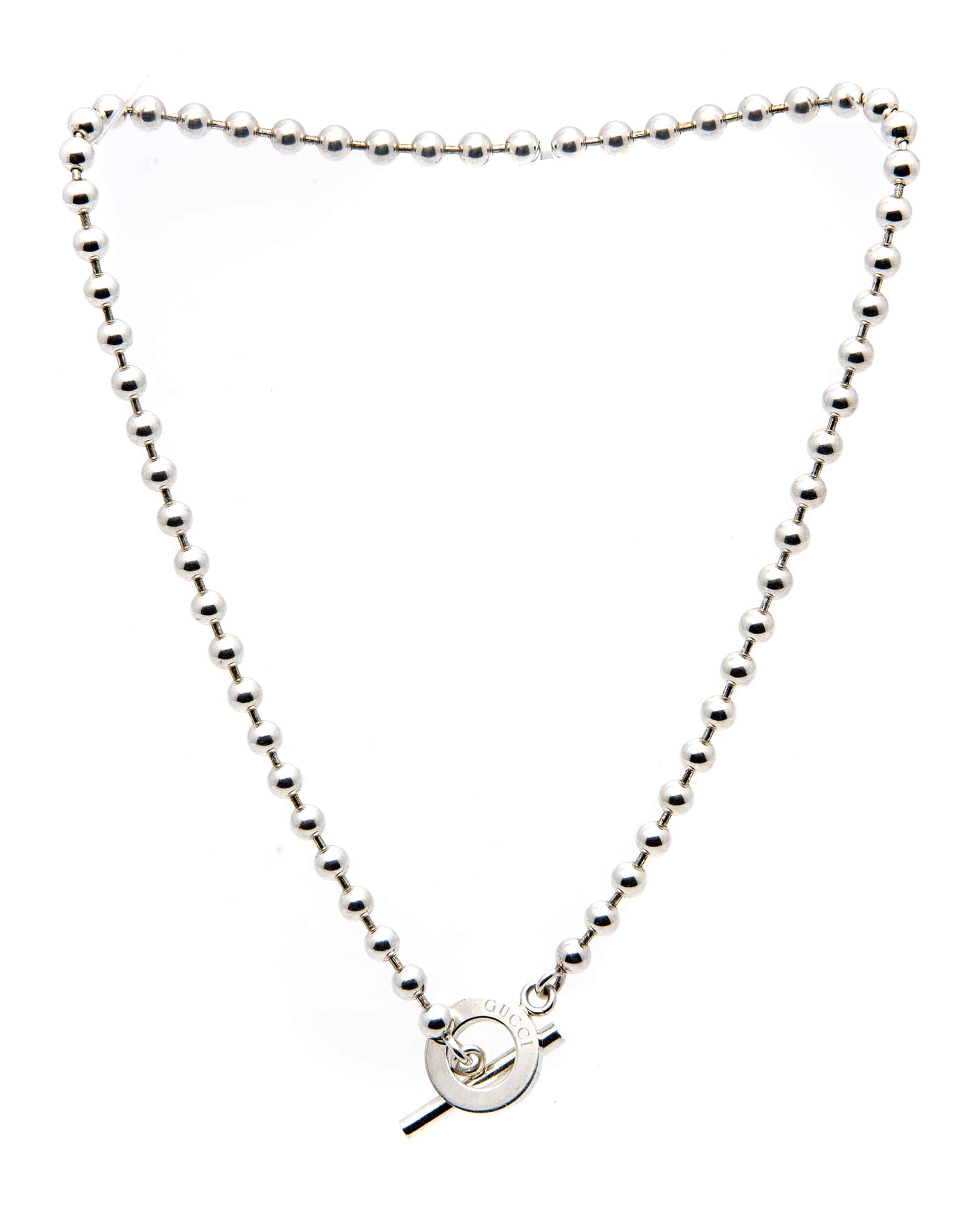 1ae4583a449 Gucci Boule Sterling Silver Beaded Necklace YBB1358160010XL | eBay