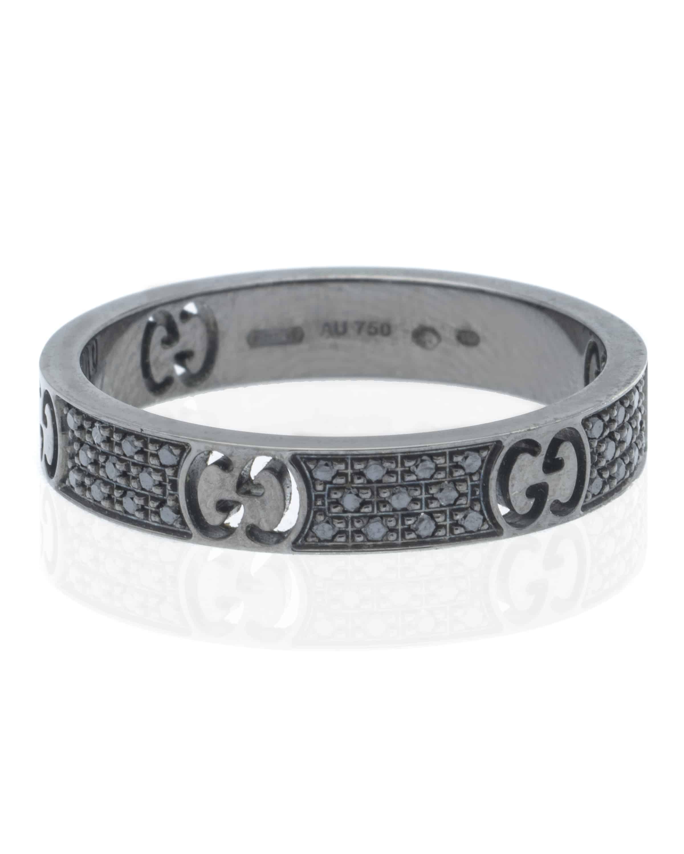 fab018b04 Gucci Icon Stardust 18k White Gold and Ruthenium Black Diamond Band ...