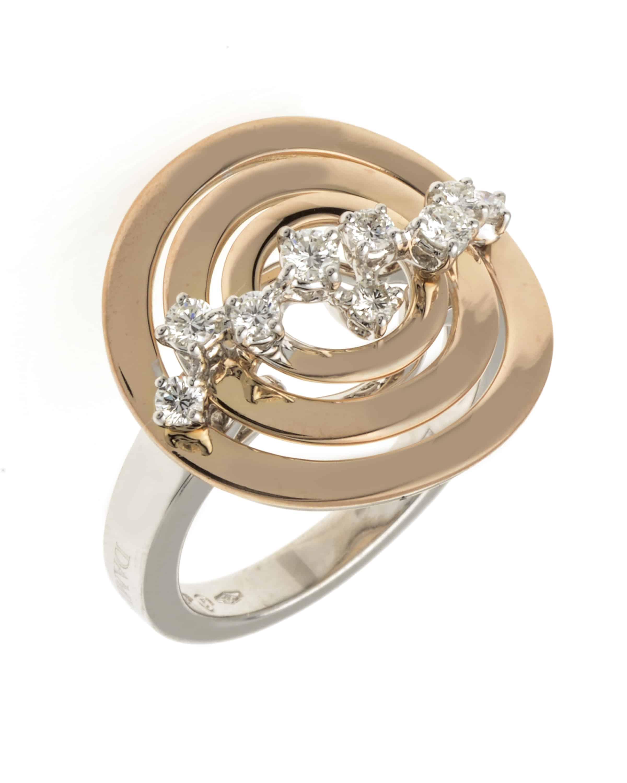 Damiani 18k White & Rose Gold Diamond Statement Ring Size 7. 20023790