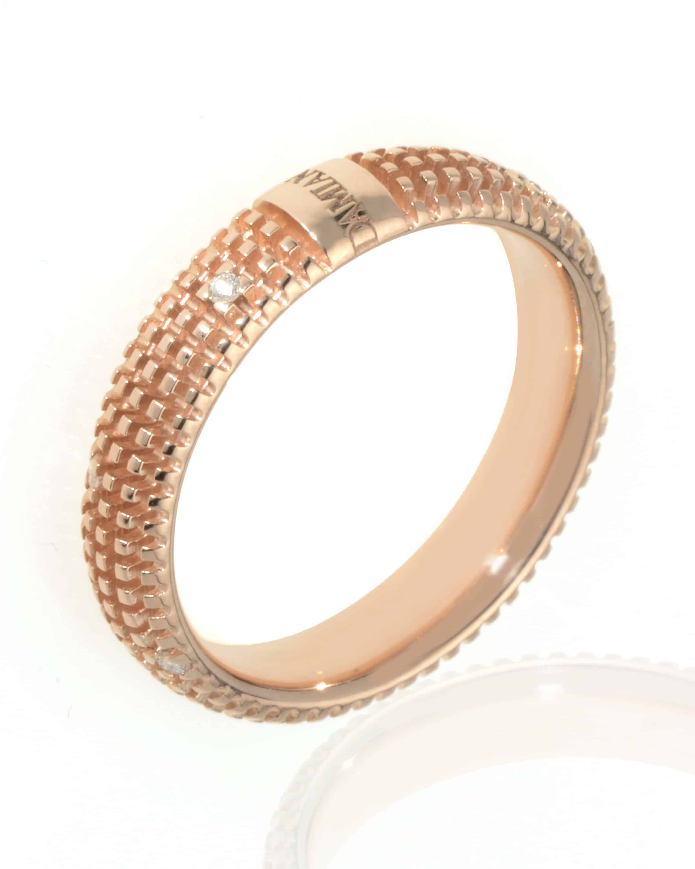 946f6b5e9 Damiani 18k Rose Gold Diamond Band Ring Size 7. | ShopWorn