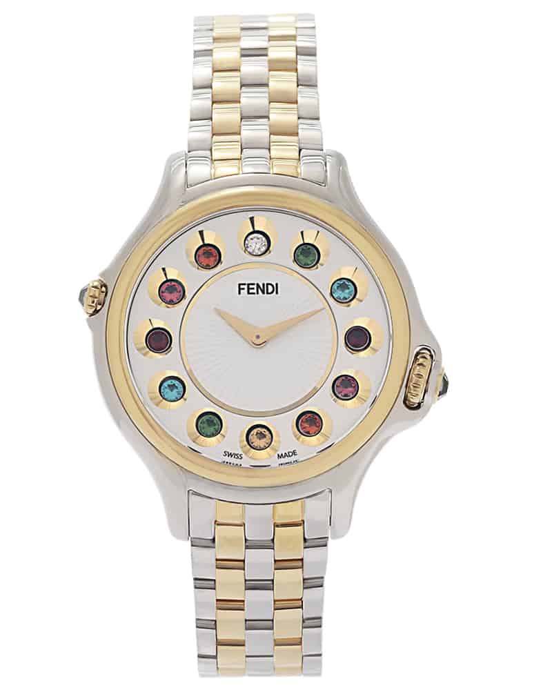Fendi Crazy Carats Two Tone Silver Dial Stainless Steel Quartz Ladies Watch F107134000T05