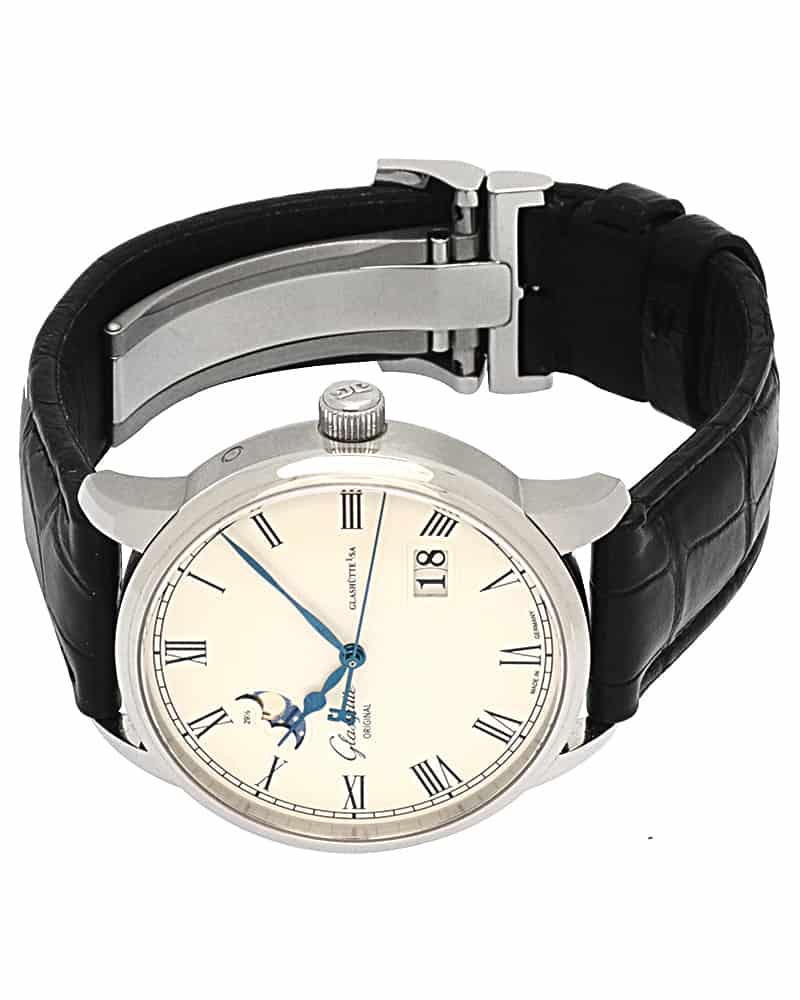Glashutte Senator Panarama Date Moonphase Steel Automatic Men's Watch 100.04.32.12.04