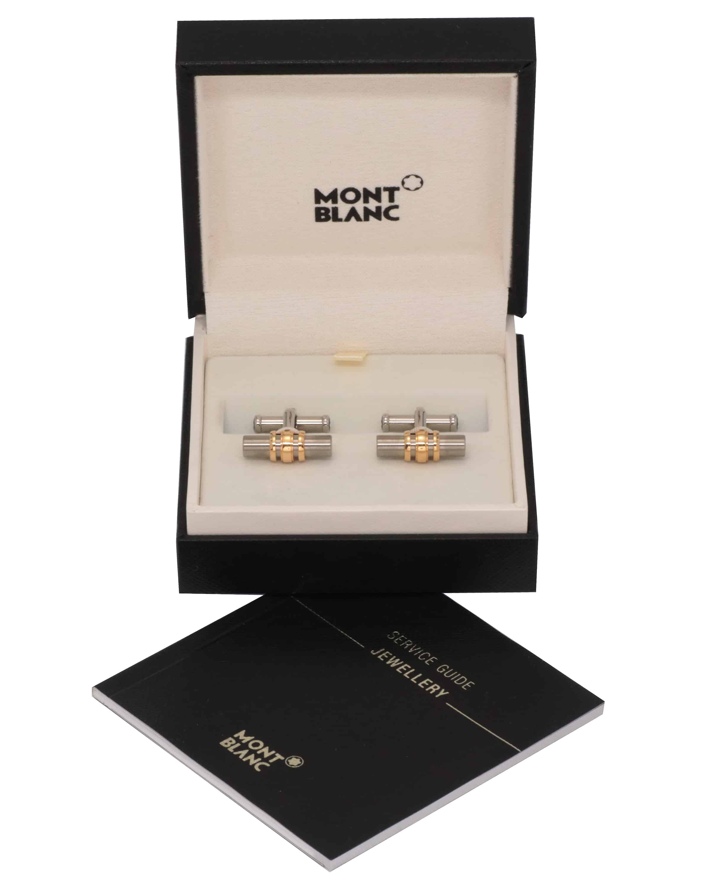 Montblanc 18k Yellow Gold And Stainless Steel Cufflinks 102690