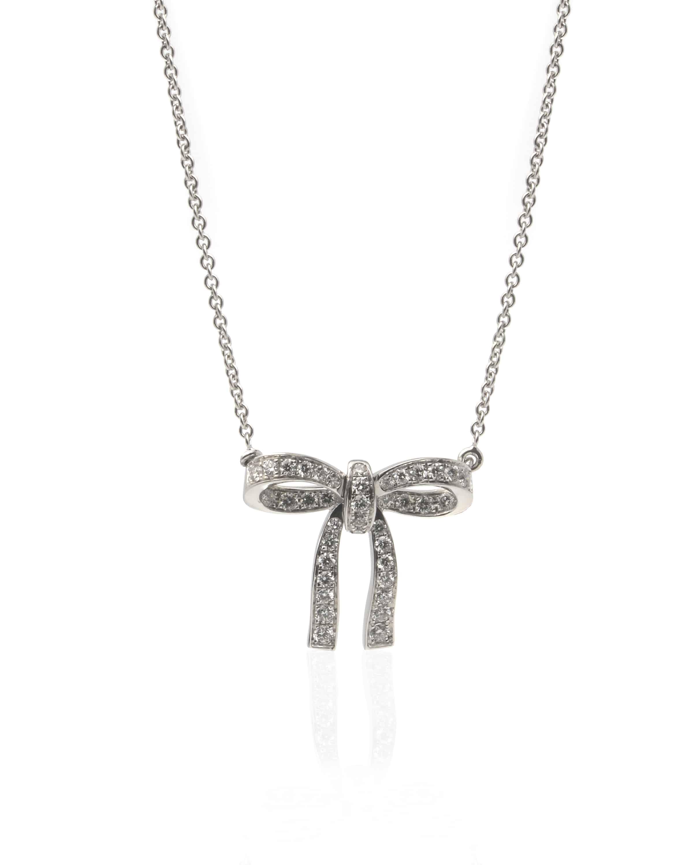 Crivelli 18k White Gold Diamond Bow Necklace 117-C381 - 38534445