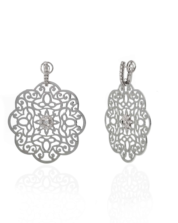 Crivelli 18k White Gold Diamond Drop Earrings 216-CR377 - 54398775